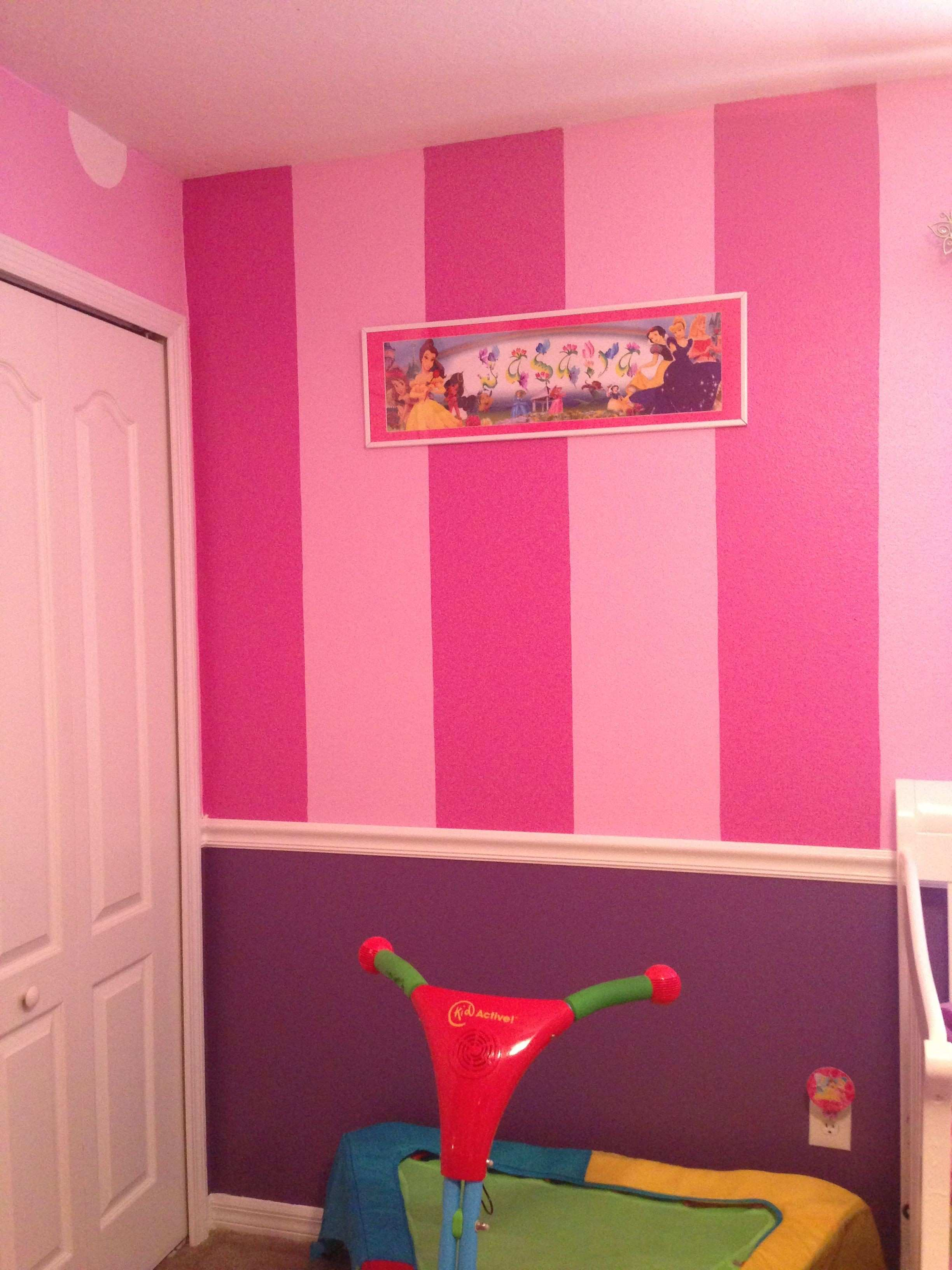 1 stripes on 1 of the walls in Jasi s Minnie Mouse room turned