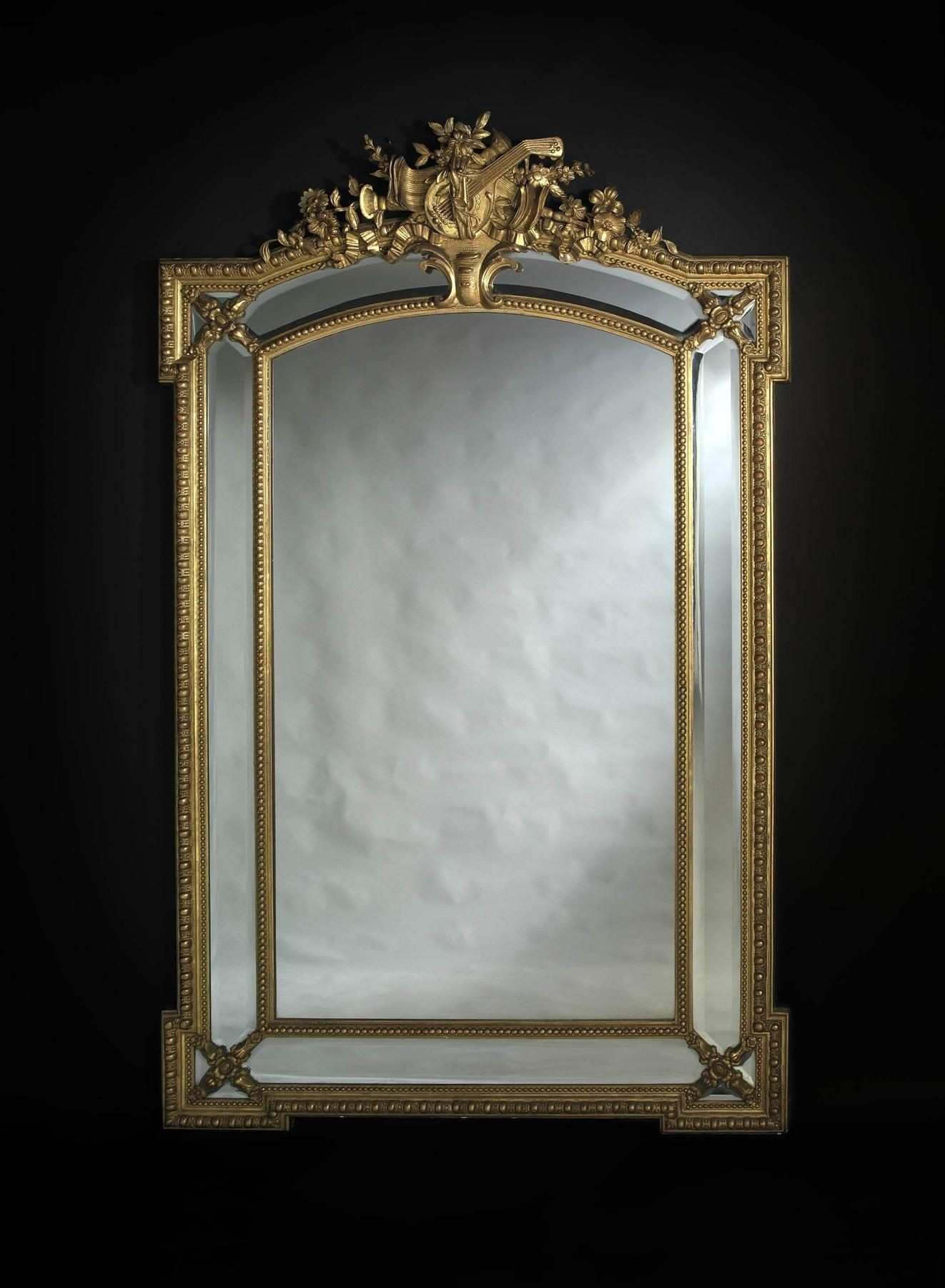 A Fine Louis XV Style Giltwood Marginal Frame Mirror with Bevelled