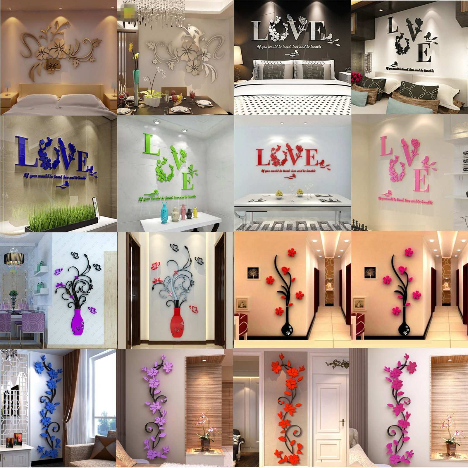 HOT 3D Mirror Wall Stickers Quote Flower Vase Acrylic Decal Home DIY