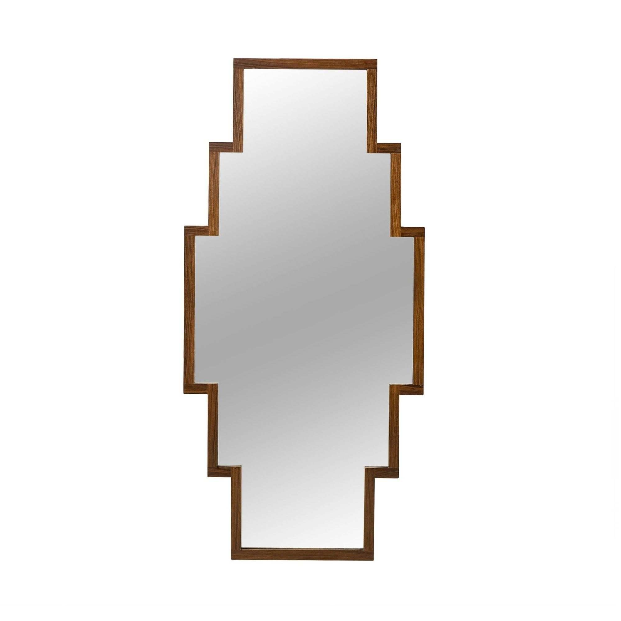 A large wood framed mirror with a symmetrical step shape to the