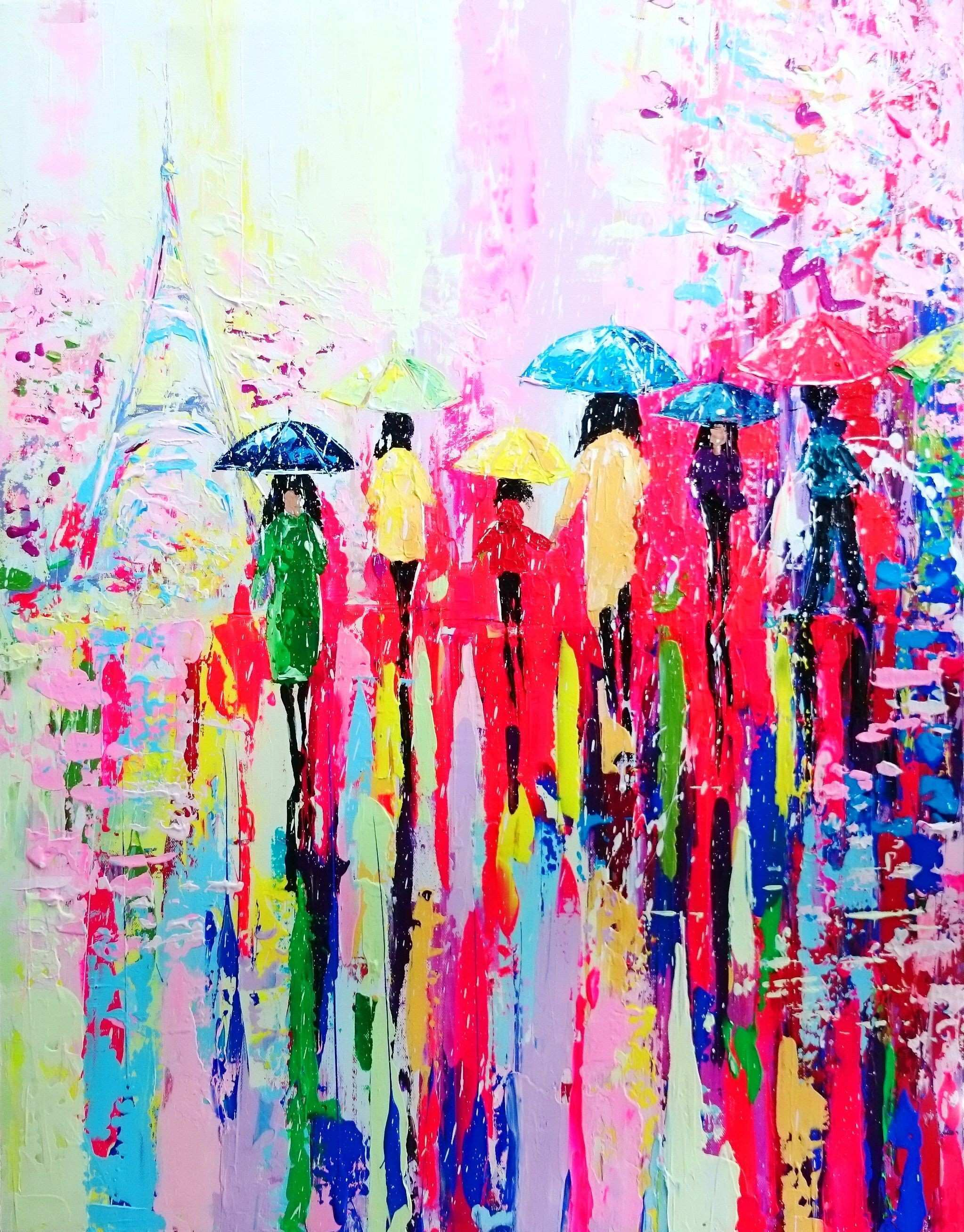 Modern Abstract Art Beautiful Fineartseen Sunny Rain In Paris by Alena Shymchonak This original