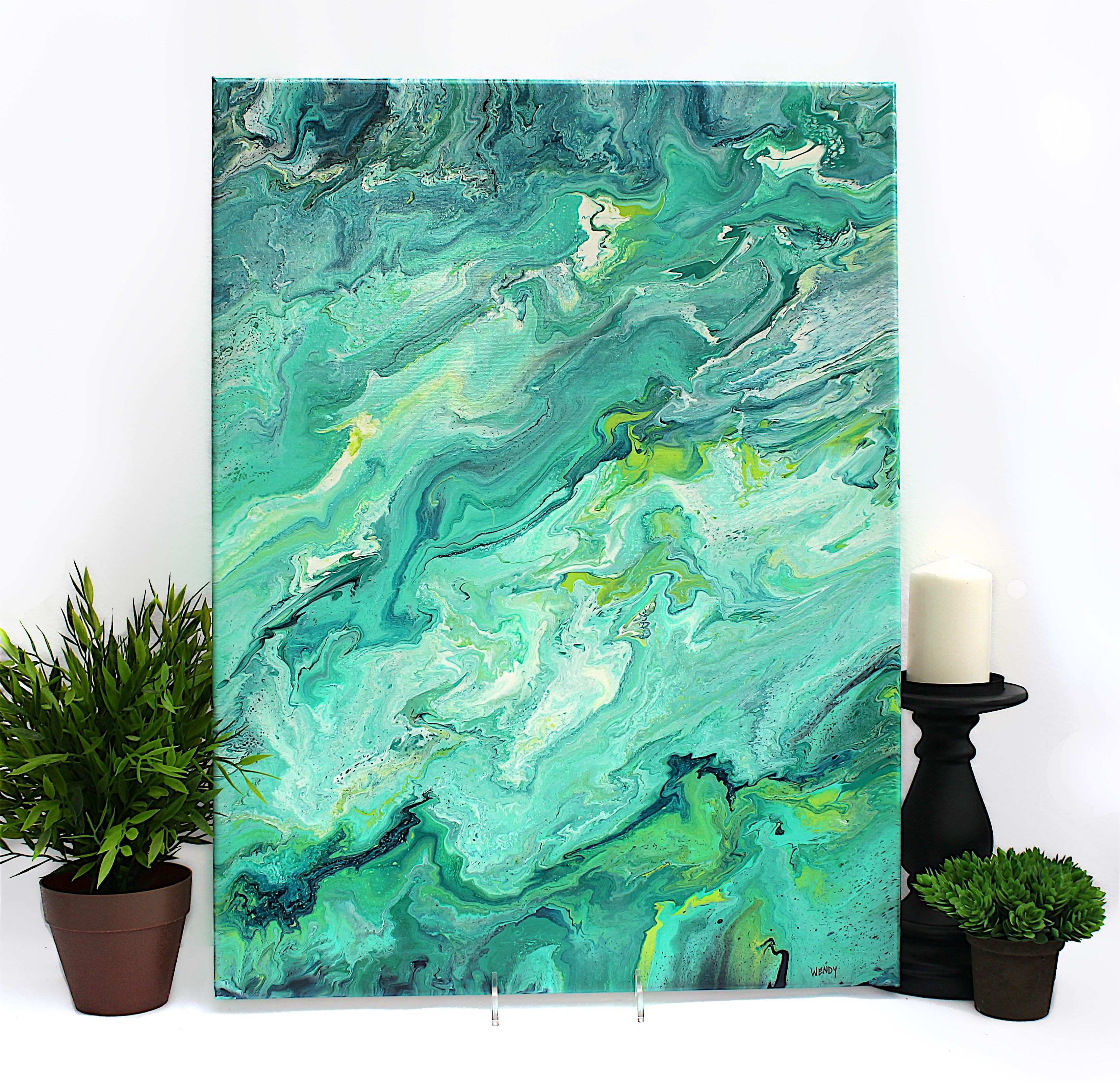 Modern Abstract Art Elegant Vibrant Teal and Aqua original Acrylic Abstract Painting 18x24 Inch