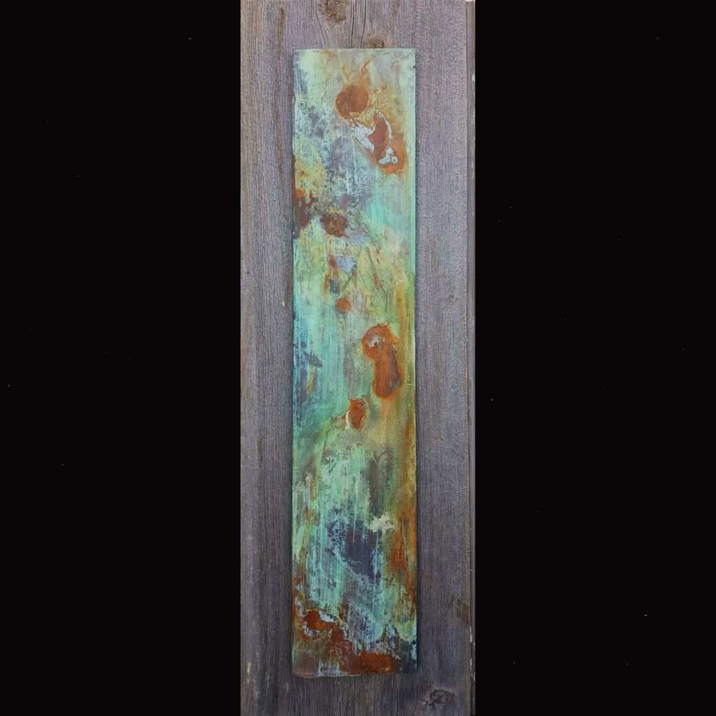 Modern Abstract Art Inspirational Mixed Media Rust and Patina Abstract Painting On Reclaimed Barnwood