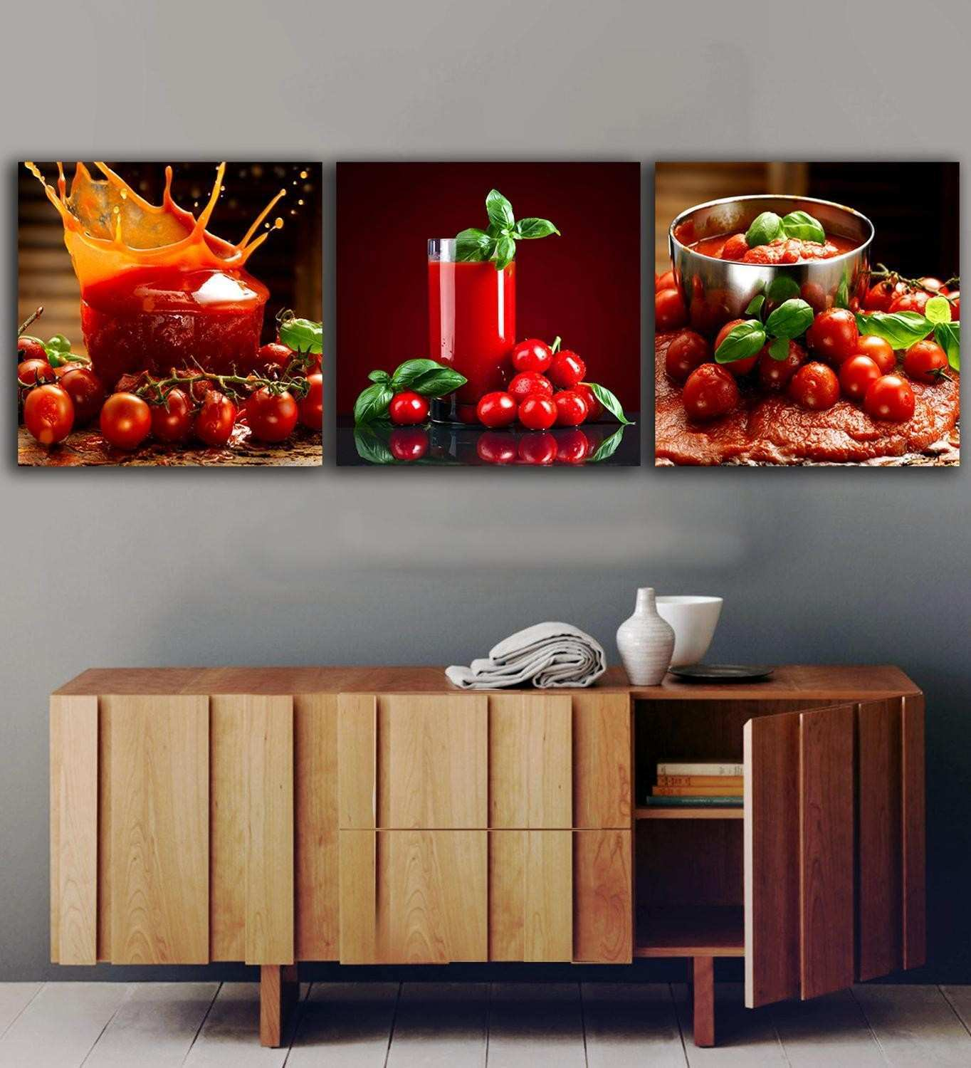3 Panels Tomatoes Juice paintings for the kitchen fruit wall decor
