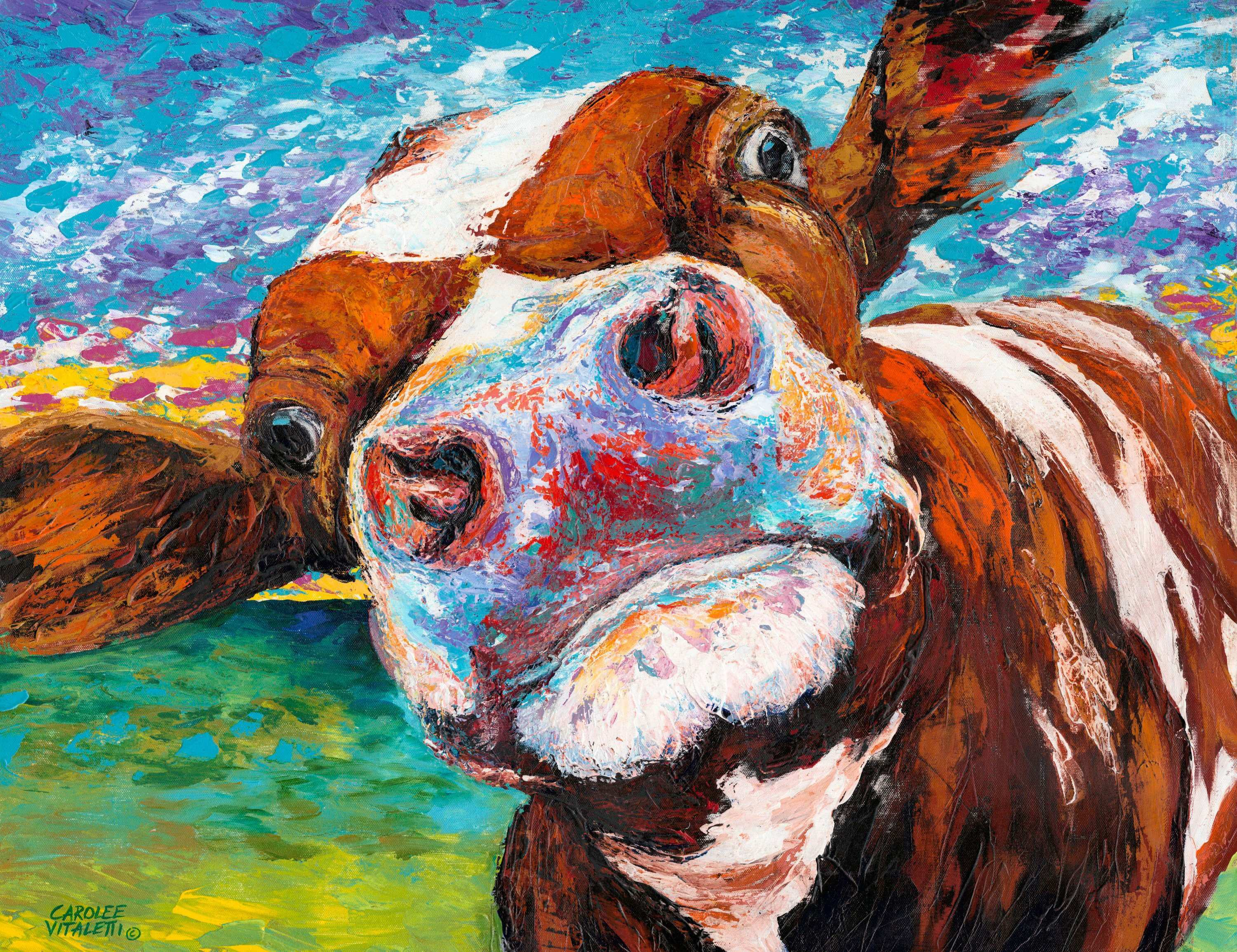 """Marmont Hill """"Curious Cow I"""" Painting Print on Wrapped Canvas"""