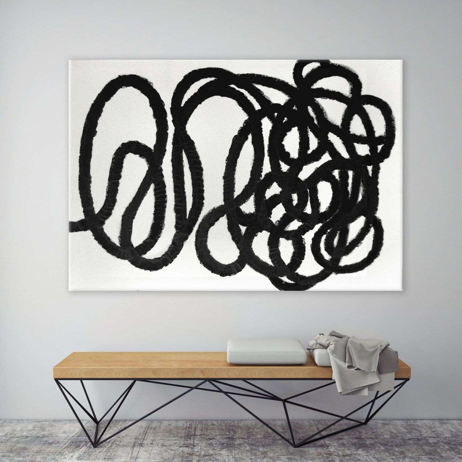 Wall Art Minimalist Black and White Modern Abstract Canvas