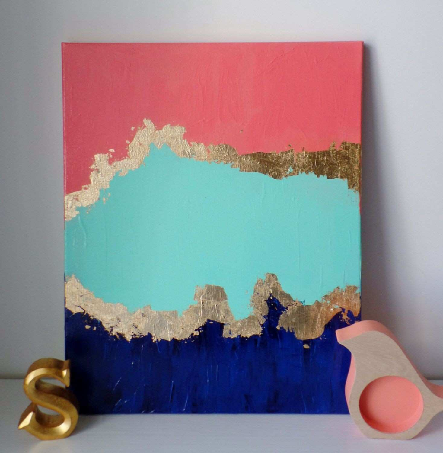 Blue and Gold Picture Frames New Abstract Paint Canvas Modern