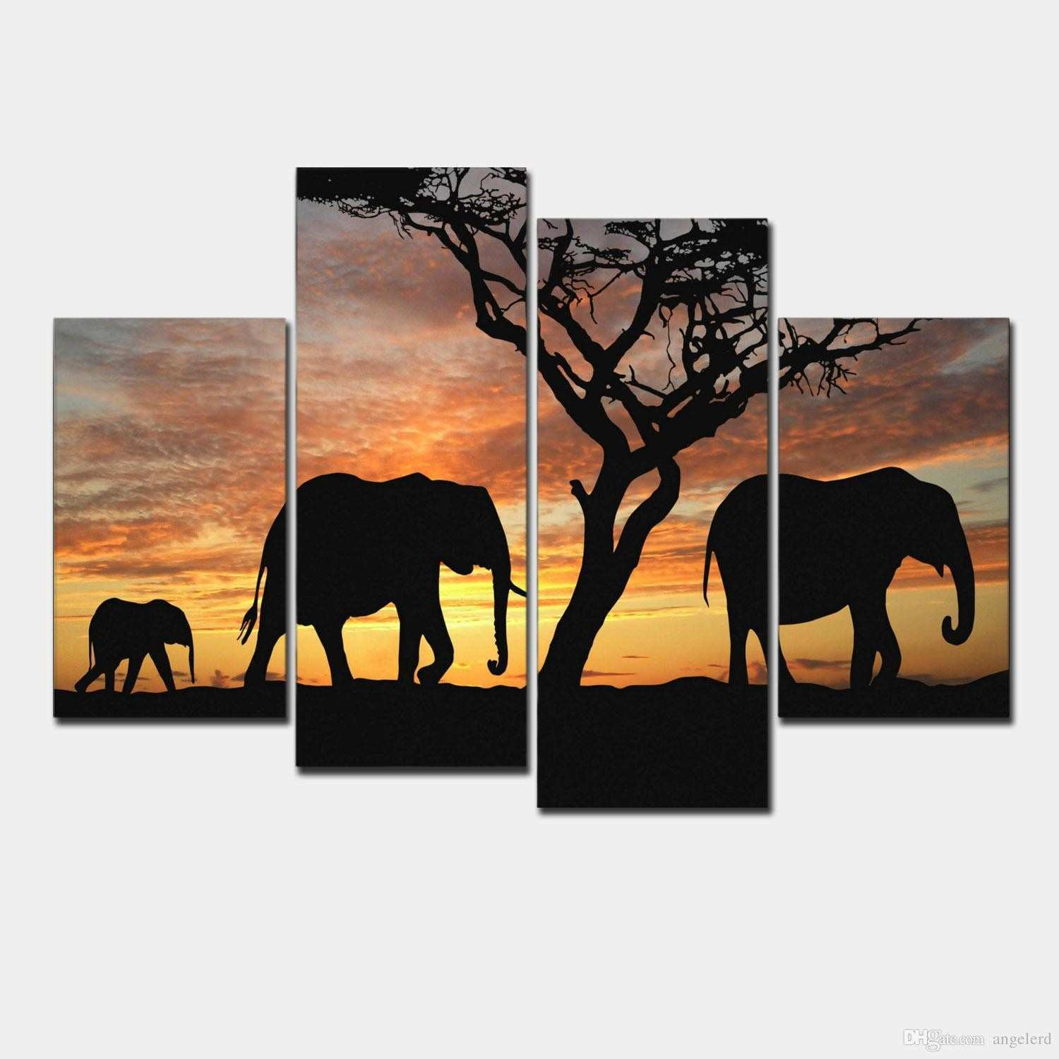 2018 5 Ppcs Sunset Elephant Painting Canvas Wall Art Picture Home