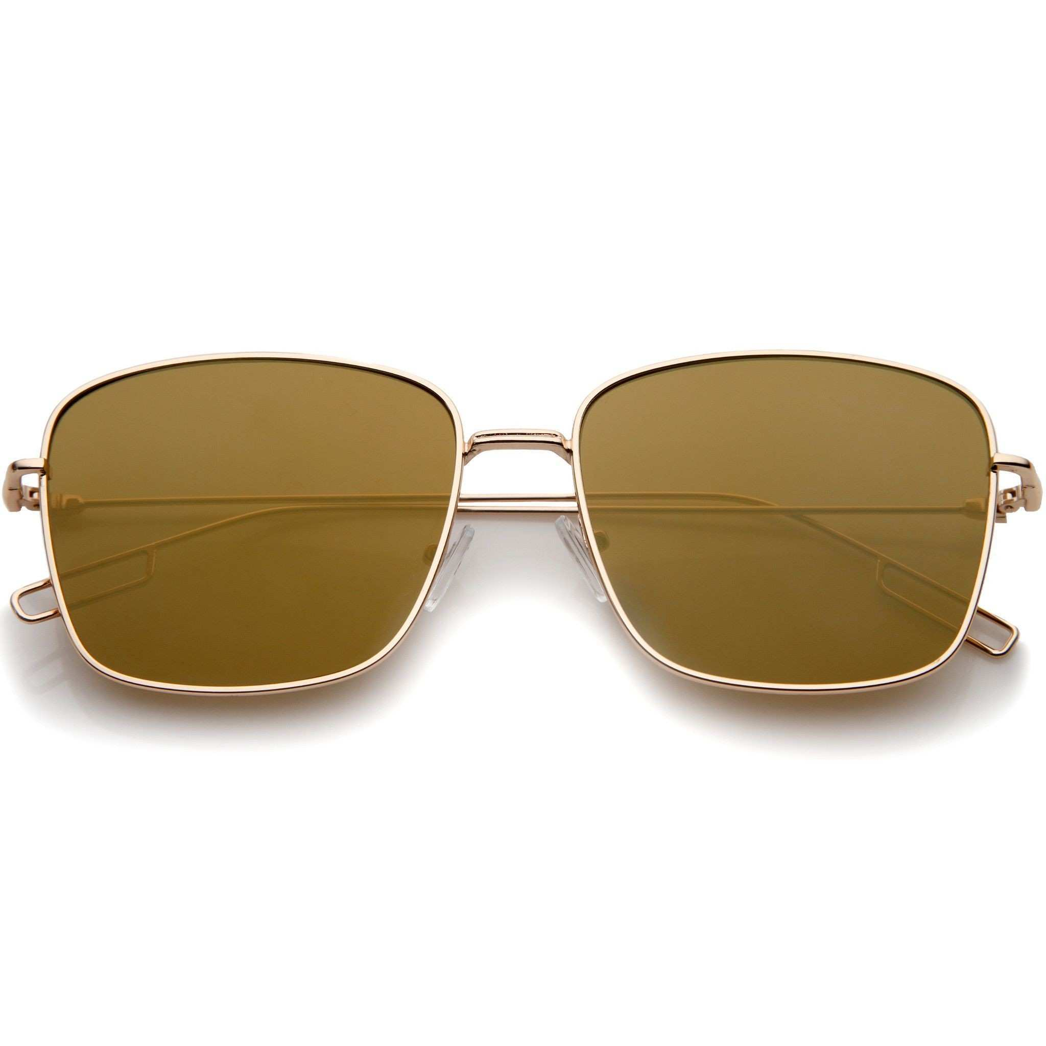 Minimal Wire Metal Frame Color Mirror Flat Lens Square Sunglasses