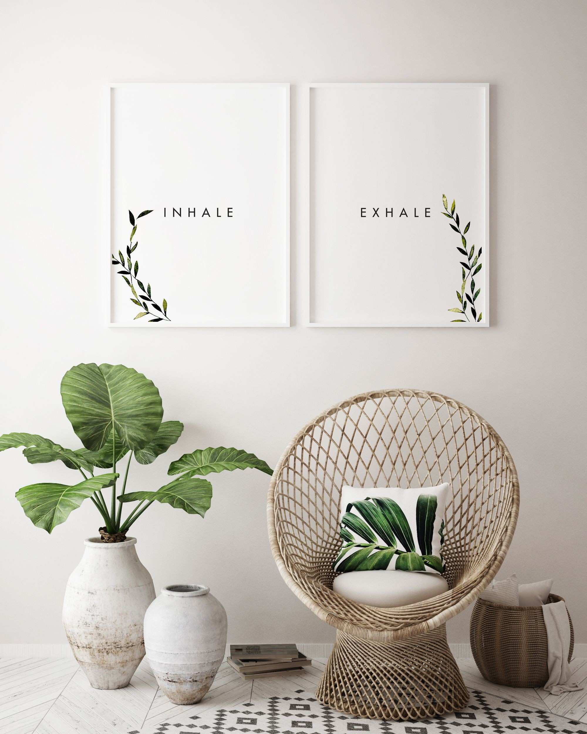Inhale Exhale Printable Wall Art Modern Wall Art Instant Download