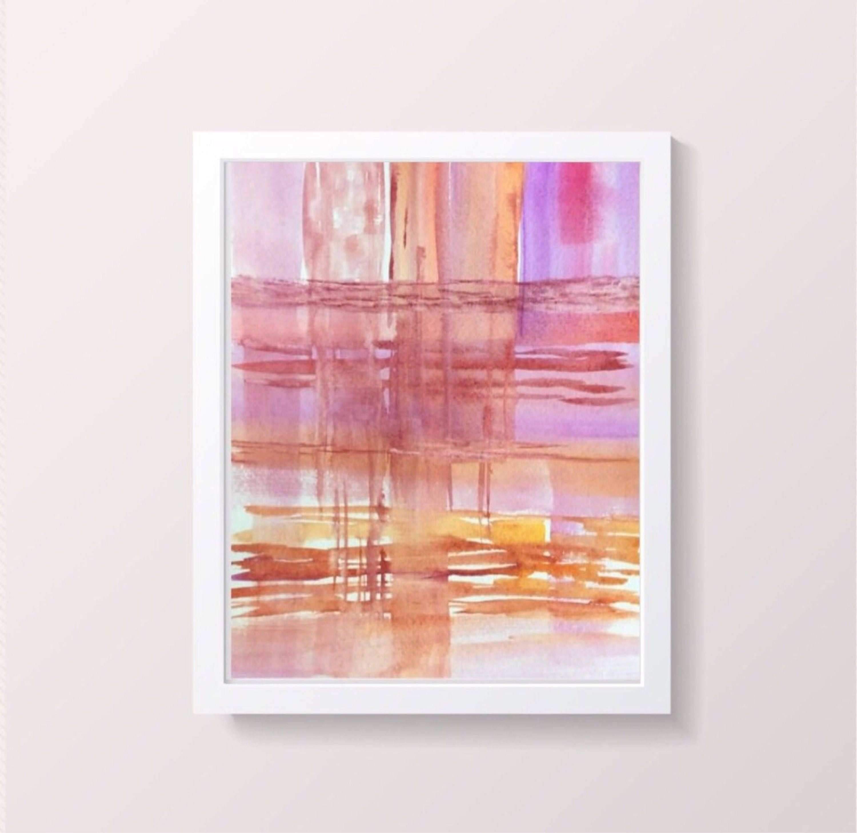 Pink Abstract Watercolor Print Contemporary wall art Original