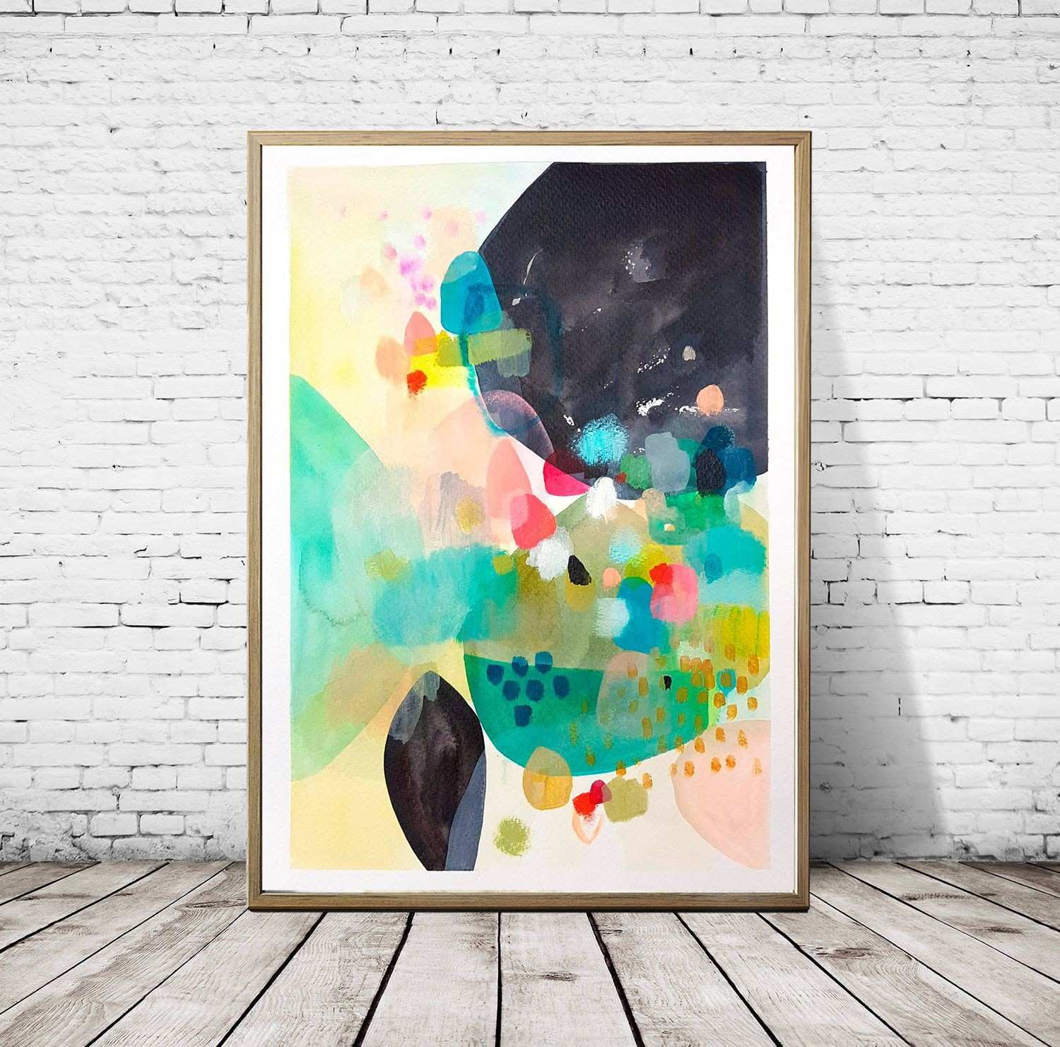 Original abstract acrylic colorful painting floral abstract modern