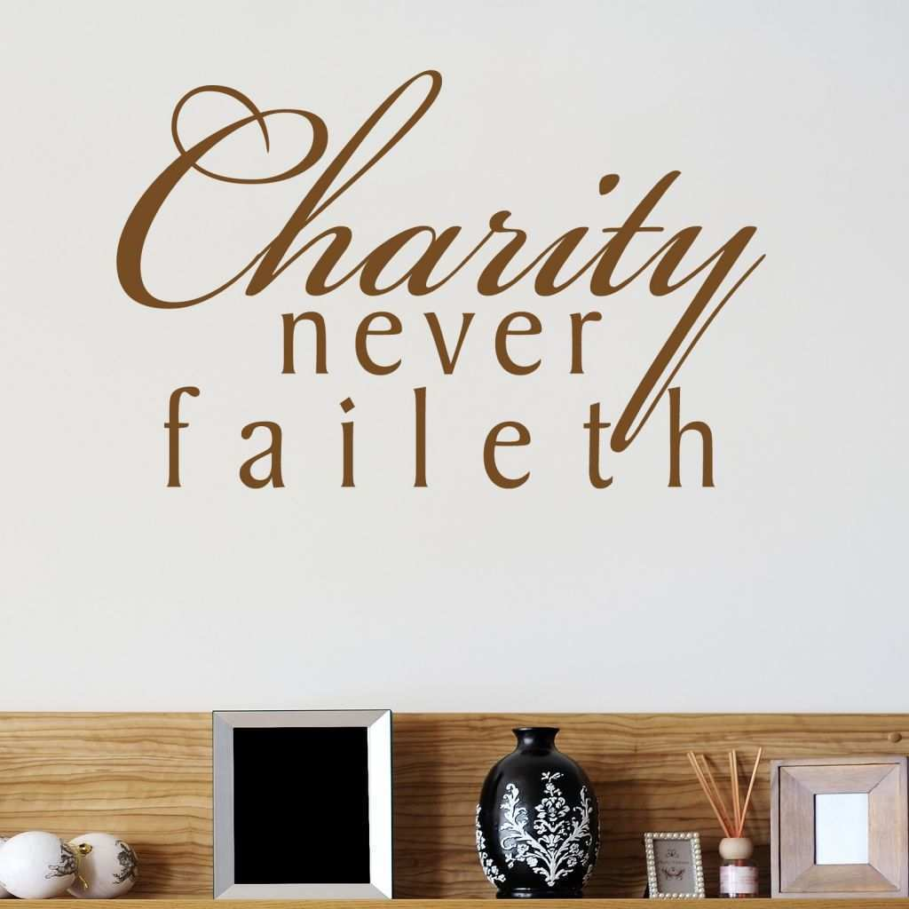 Monkey Wall Stickers Beautiful Charity Never Faileth Religious Quote Wall Sticker World Of Wall