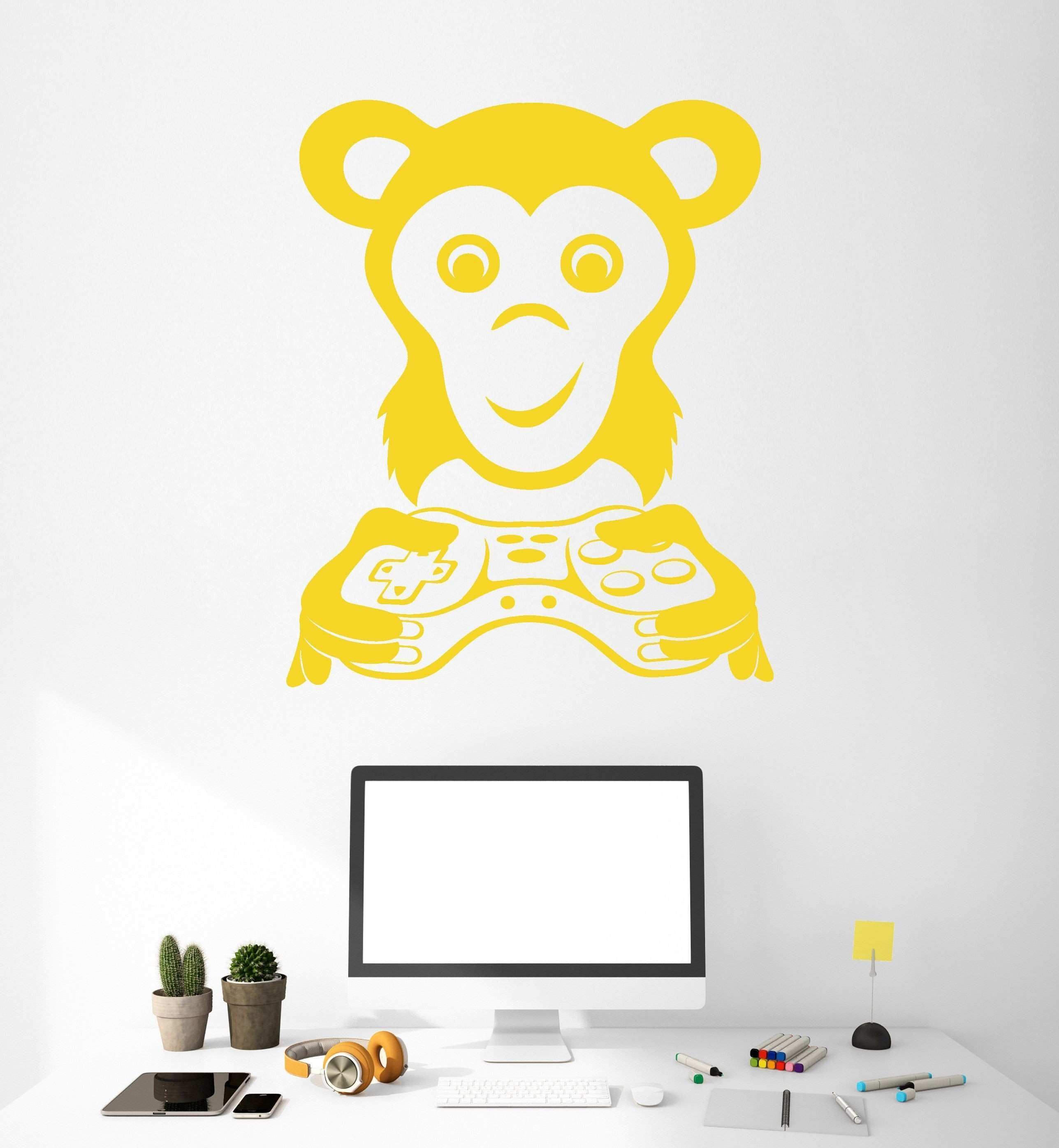 Vinyl Wall Decal Video Game Gamer Monkey Animal Joystick Stickers