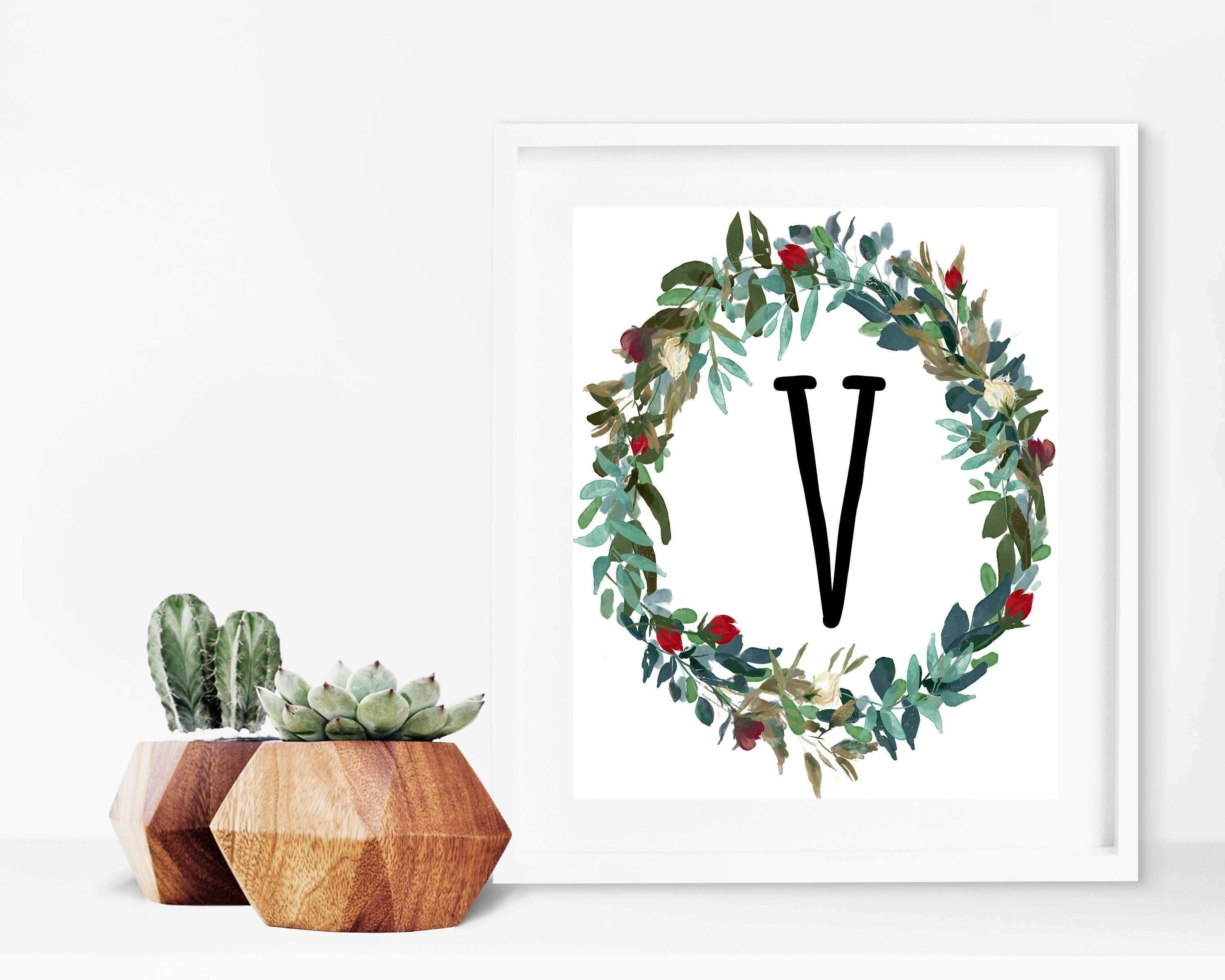 Monogram Wall Decor Luxury V Letter Print Floral Wreath Initial