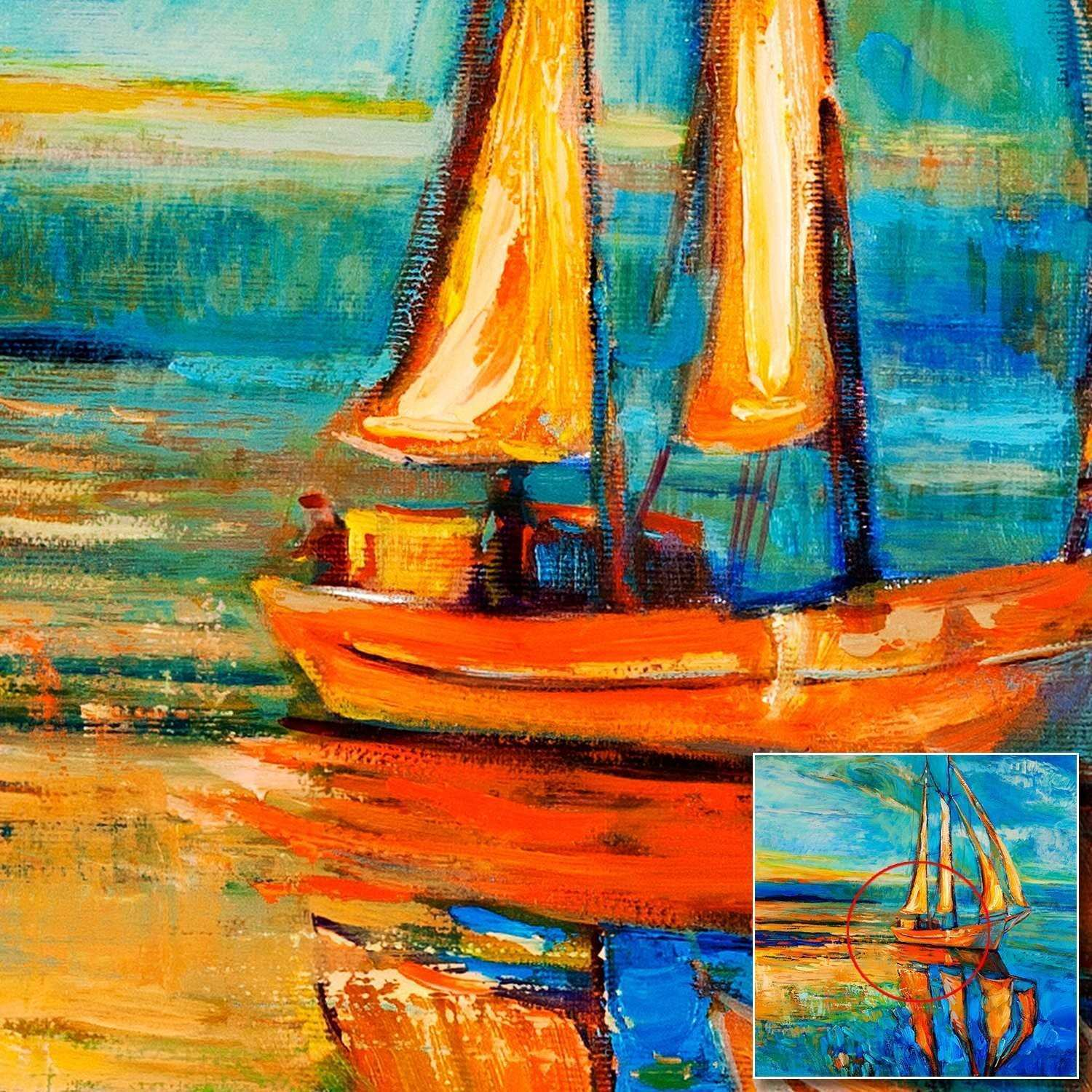 Blue Sailboat Abstract Oil Painting Prints Modern Home Wall Decor Landscape Picture Canvas Paintings for Living Room Wall Art in Painting &