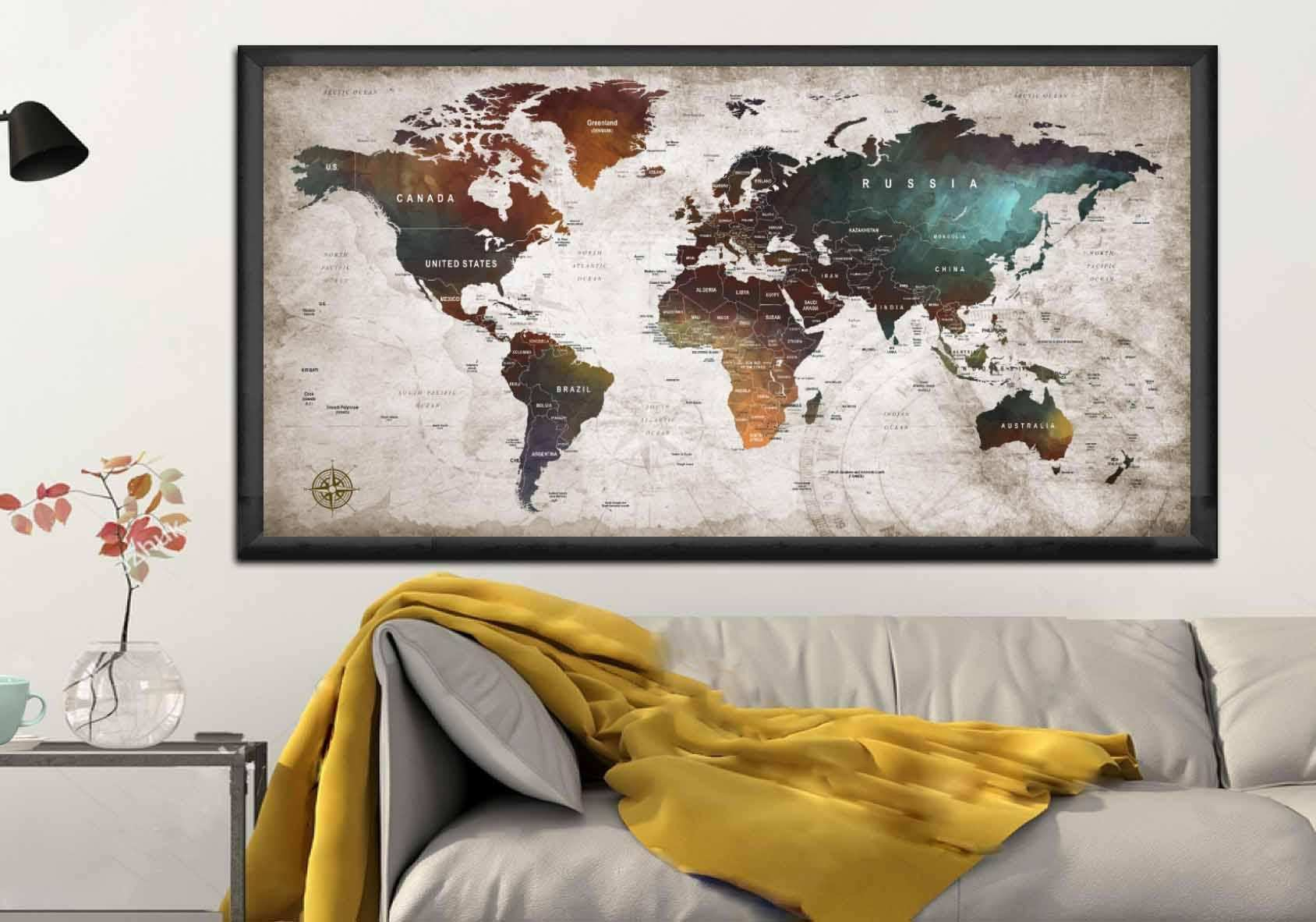 Multi Panel Canvas Wall Art Inspirational astonishing World Map Wall Art Multi Panel Canvas Prints