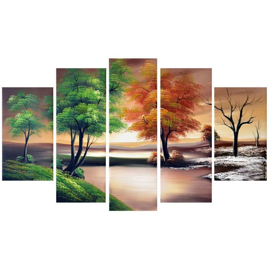 Multi Panel Canvas Wall Art Luxury Seasons forest Mastery Landscape Canvas Wall Art Oil Painting