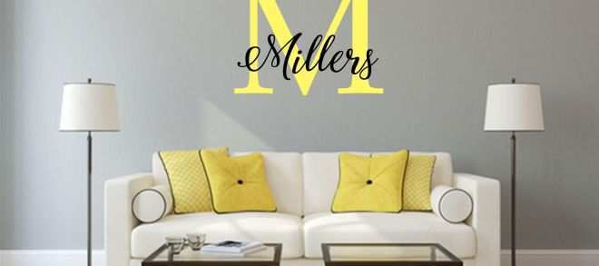 Multi Picture Wall Art Luxury Elegant Wall Sticker Initials