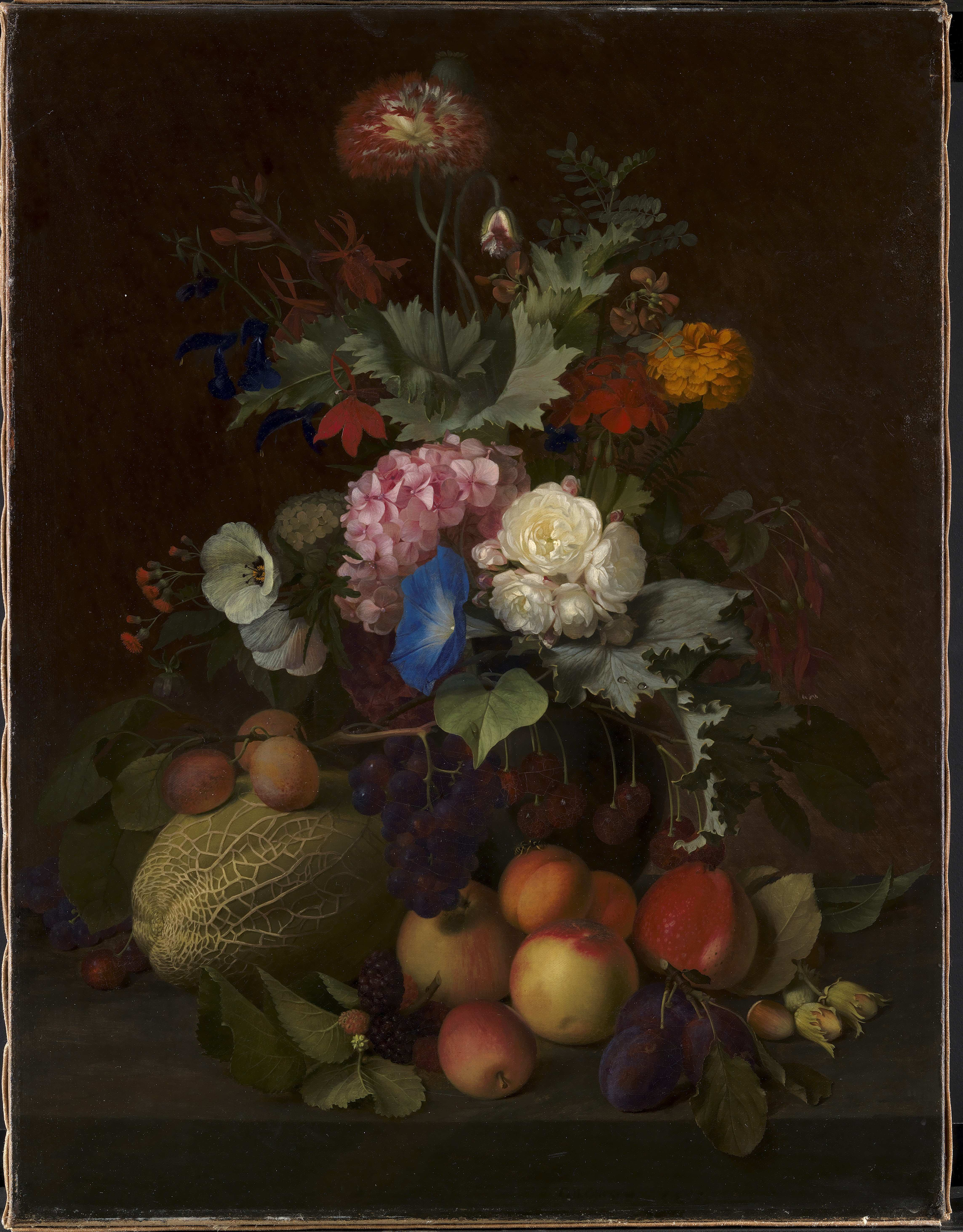 File O D Ottesen Still Life with Fruit and Flowers KMS614