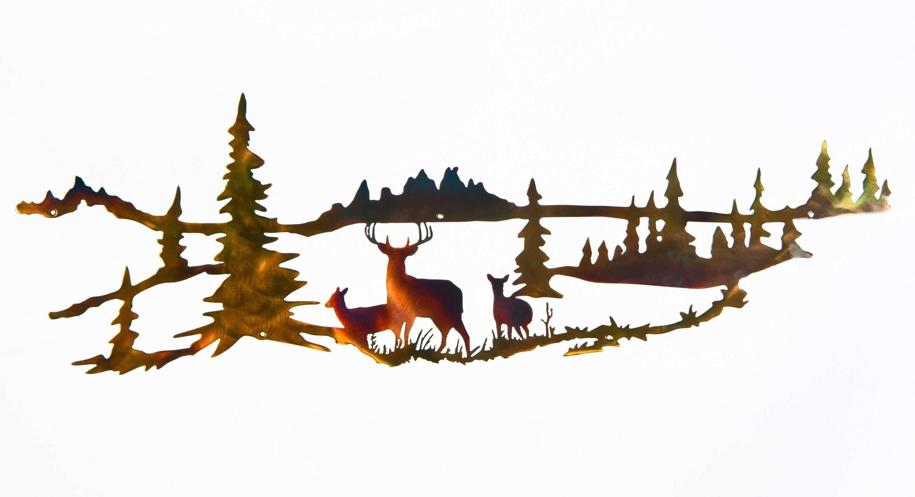This metal art piece depicts a whitetail buck and two doe deer with