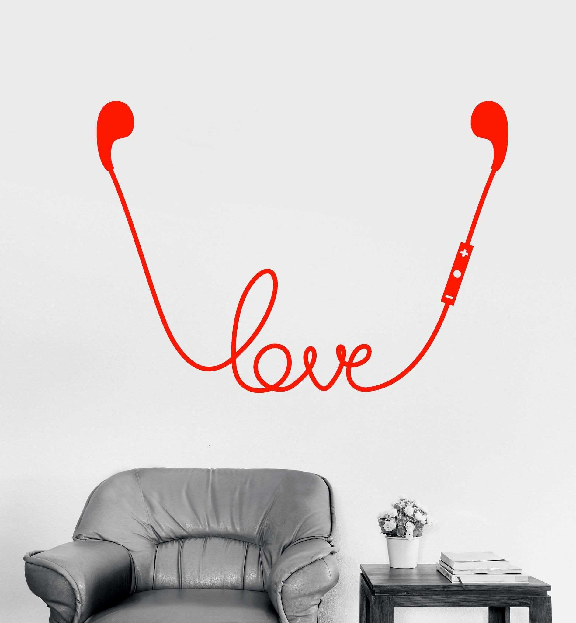 Vinyl Wall Decal Headphones Music Lovers Teen Room Decor Stickers
