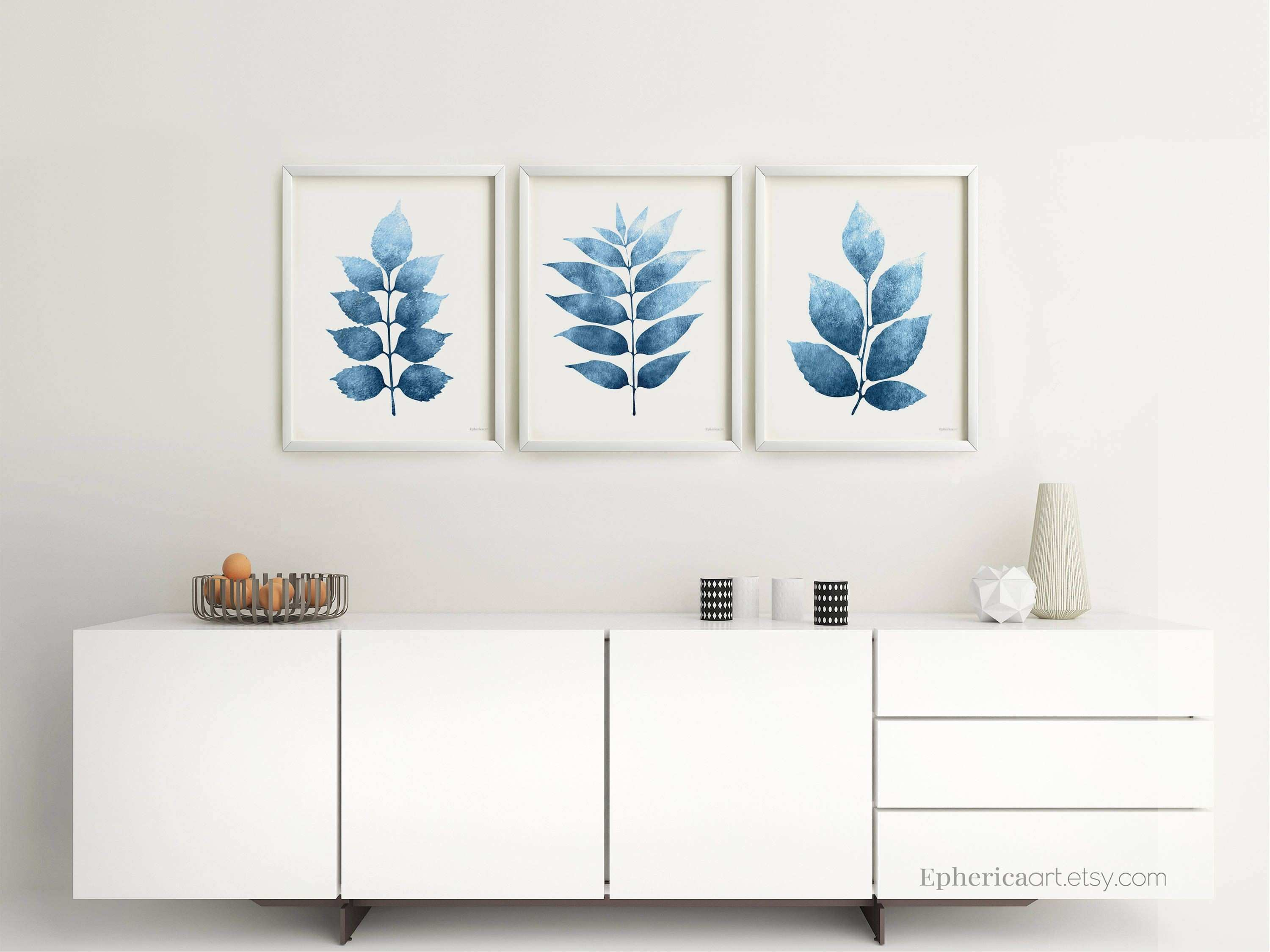 Botanical wall art prints Printable Set of 3 Posters Navy Blue