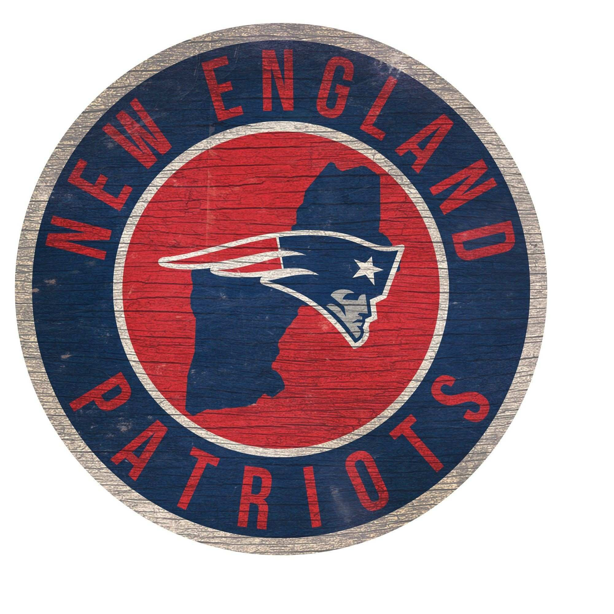 NFL New England Patriots Fan Creations State with Logo 24 Round Sign