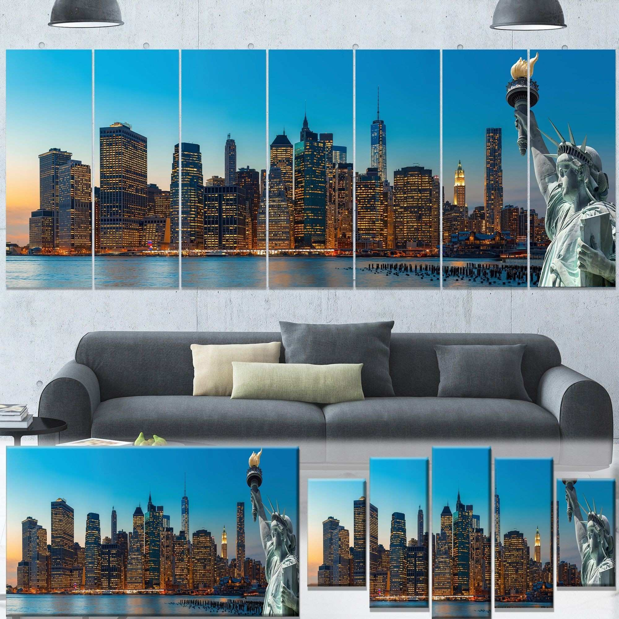 Designart Evening New York City Skyline Panorama Extra Cityscape
