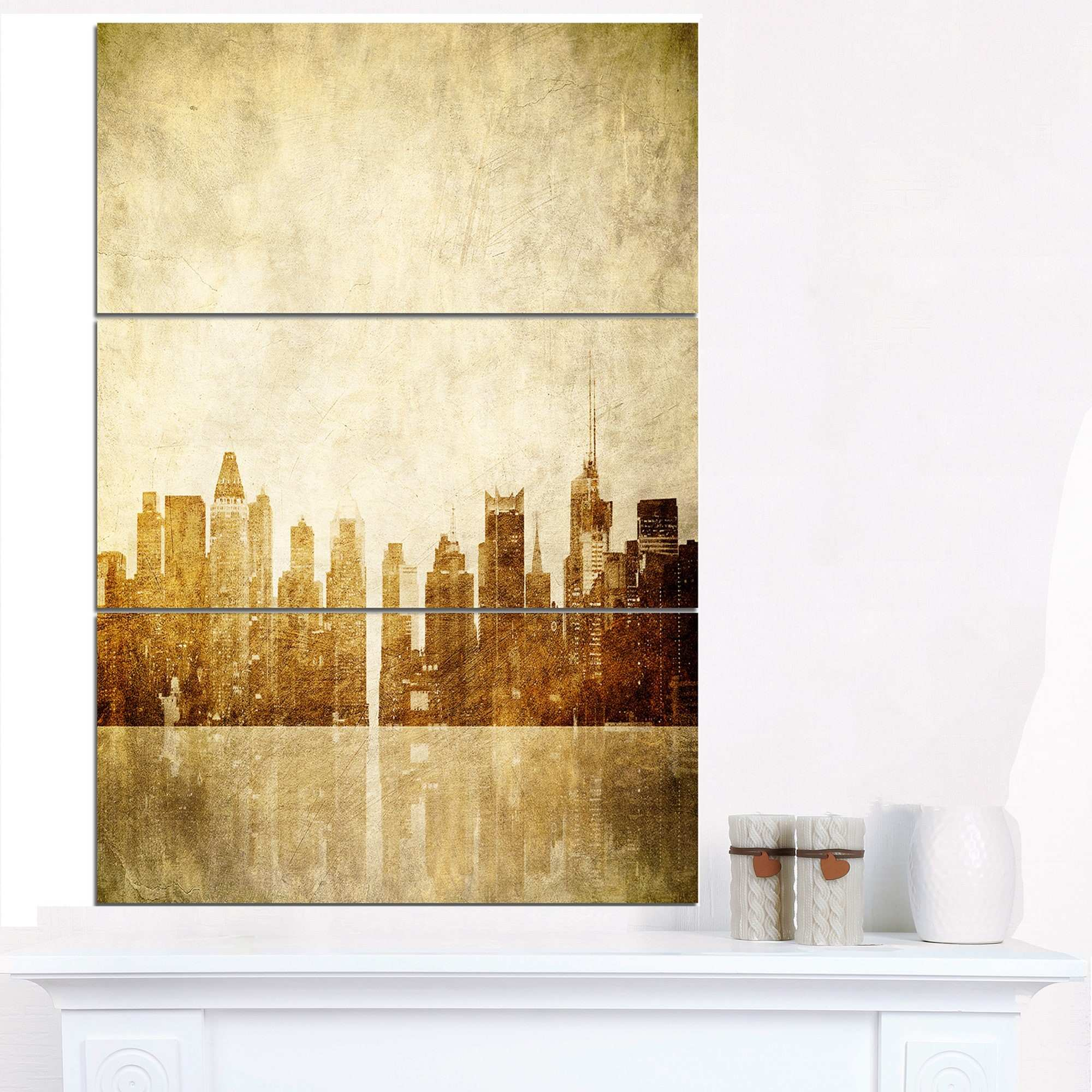 Beautiful New York Skyline Canvas Wall Art Pattern Wall Art