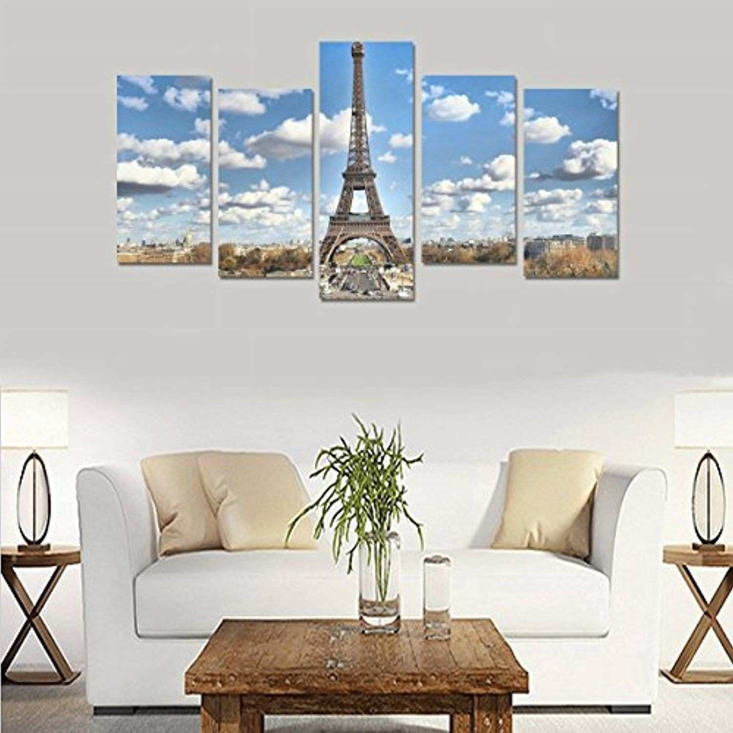 5 Piece Canvas Prints Eiffel Tower Picture Canvas Wall Art For