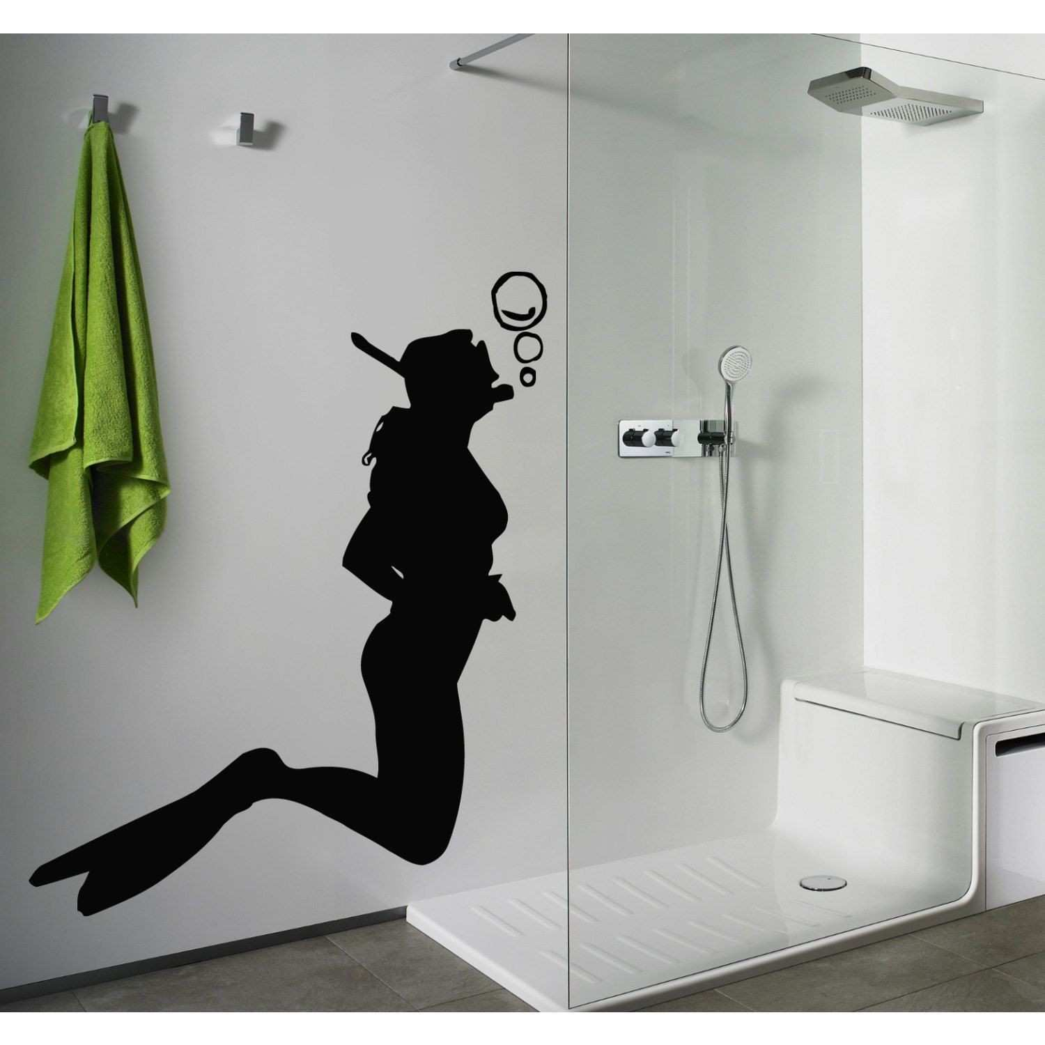Skuba Diving Diver Bathroom Decor Black Sticker Vinyl Wall Art