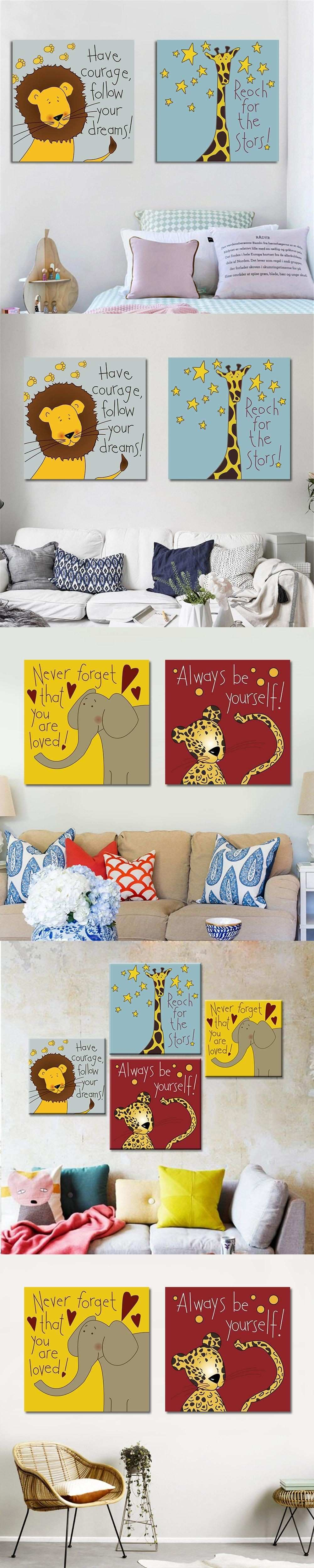 Modern Canvas Art Print Poster Cartoon Animal Painting for Kids Baby
