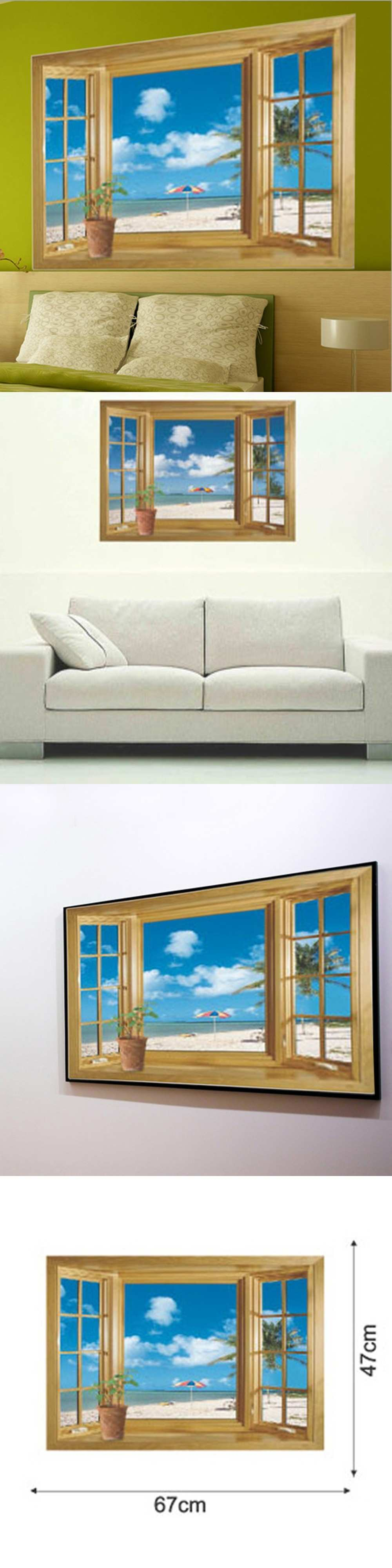 Beach Blue Sky 3D Window View Scenery Removable PVC Wall Sticker