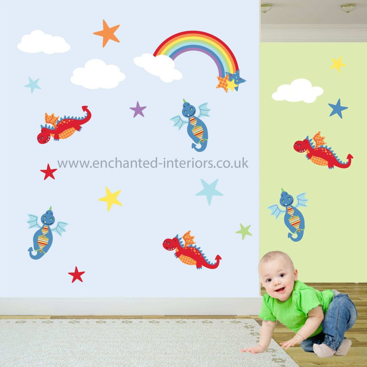 Nursery Wall Decal featuring Dragons & a Rainbow Baby boys wall