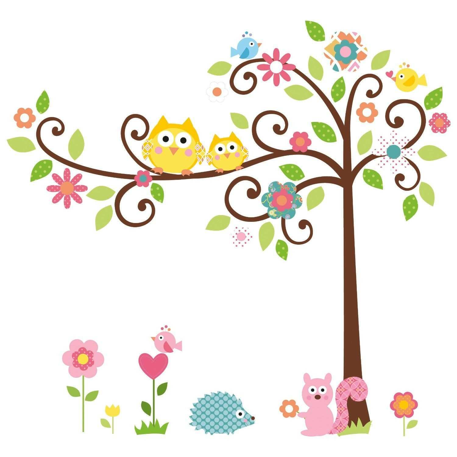 Owl Tree Art Decal Removable Vinyl Stickers kids bedroom