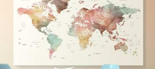 Off the Wall Prints New Brown Watercolor World Map Print On Canvas World Map Wall Art