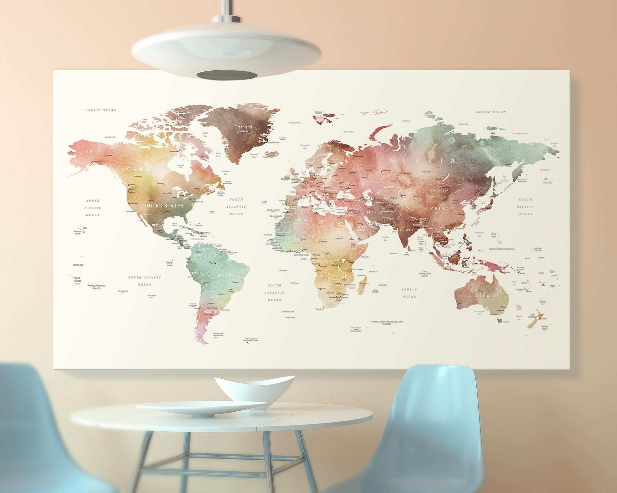 Brown watercolor world map print on canvas world map wall art