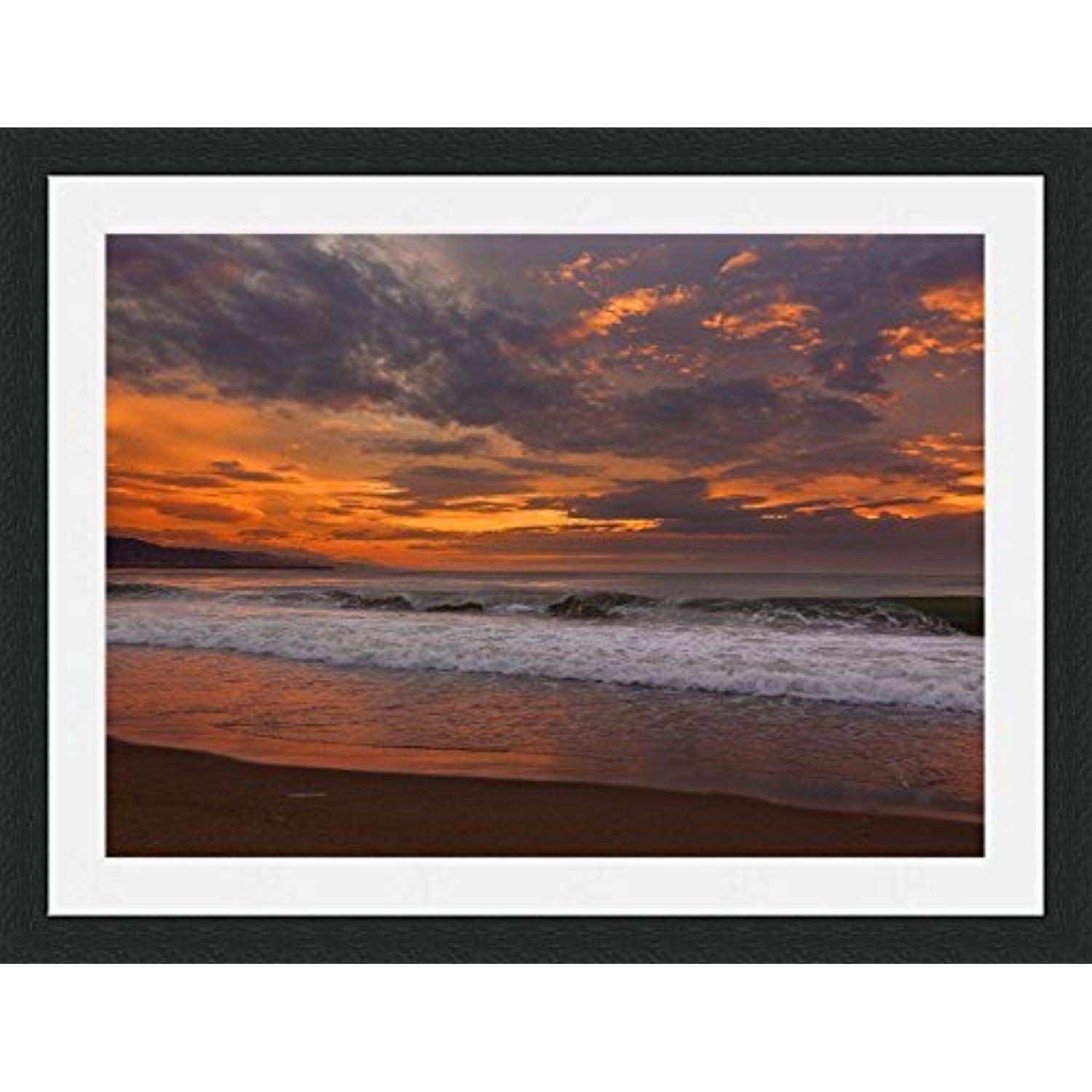 Orange Sunset over Sea Framed Wall Art Wall Picture Frames Wall