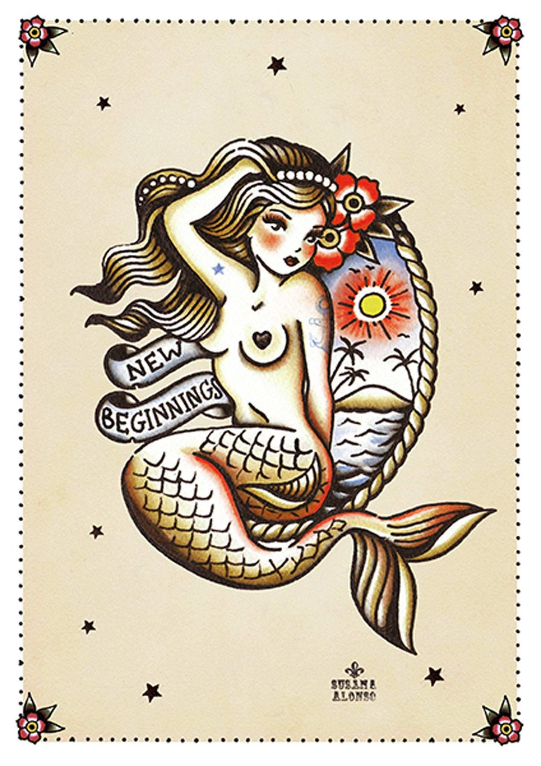 New Beginnings by Susana Alonso Pin Up Mermaid Tattoo Canvas Art