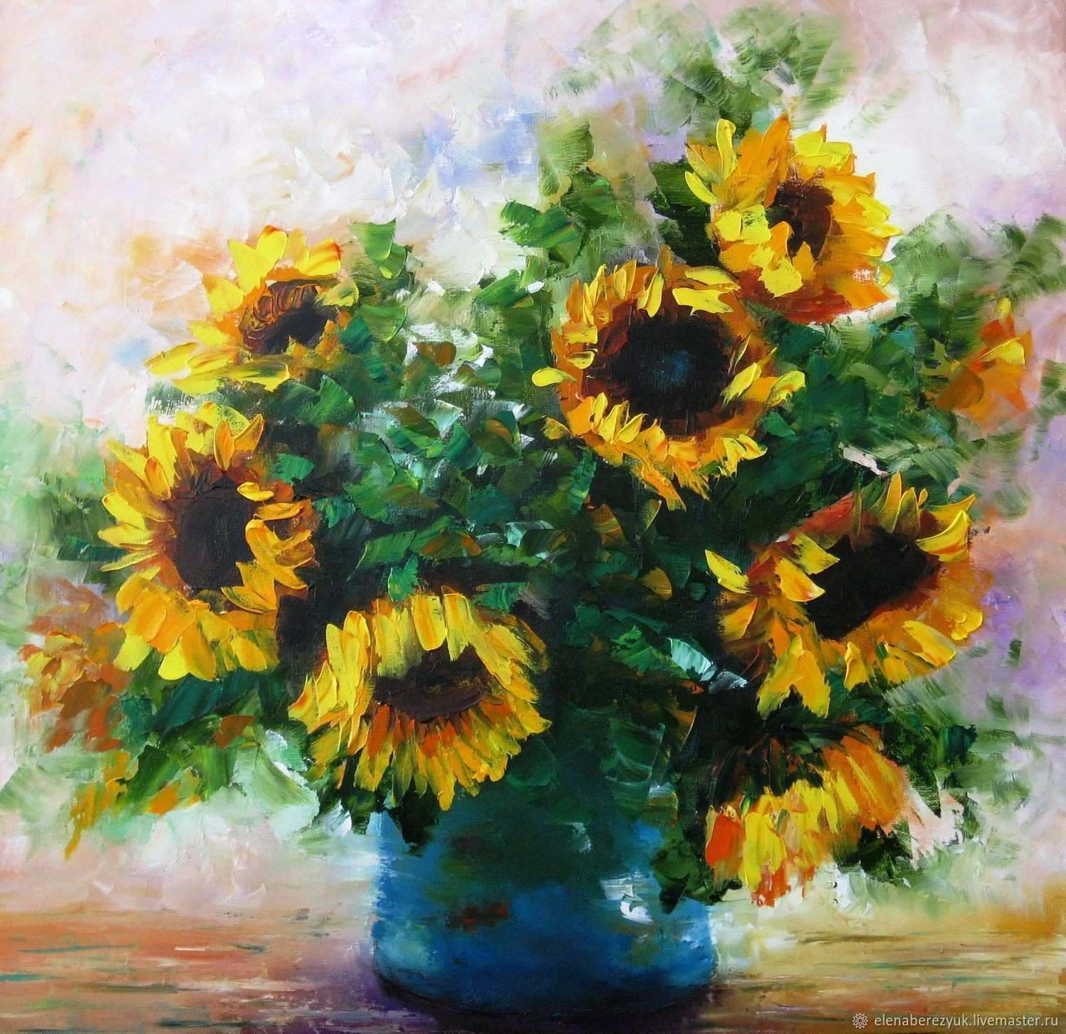 Oil painting on stretched canvas Sunflowers still life with flowers