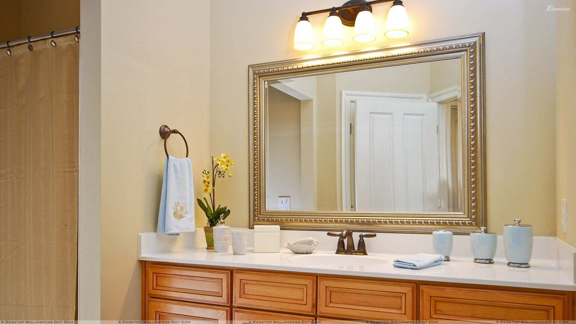 Bathroom Mirror Decorating Ideas Rectangle Wall Mirror With Ornate