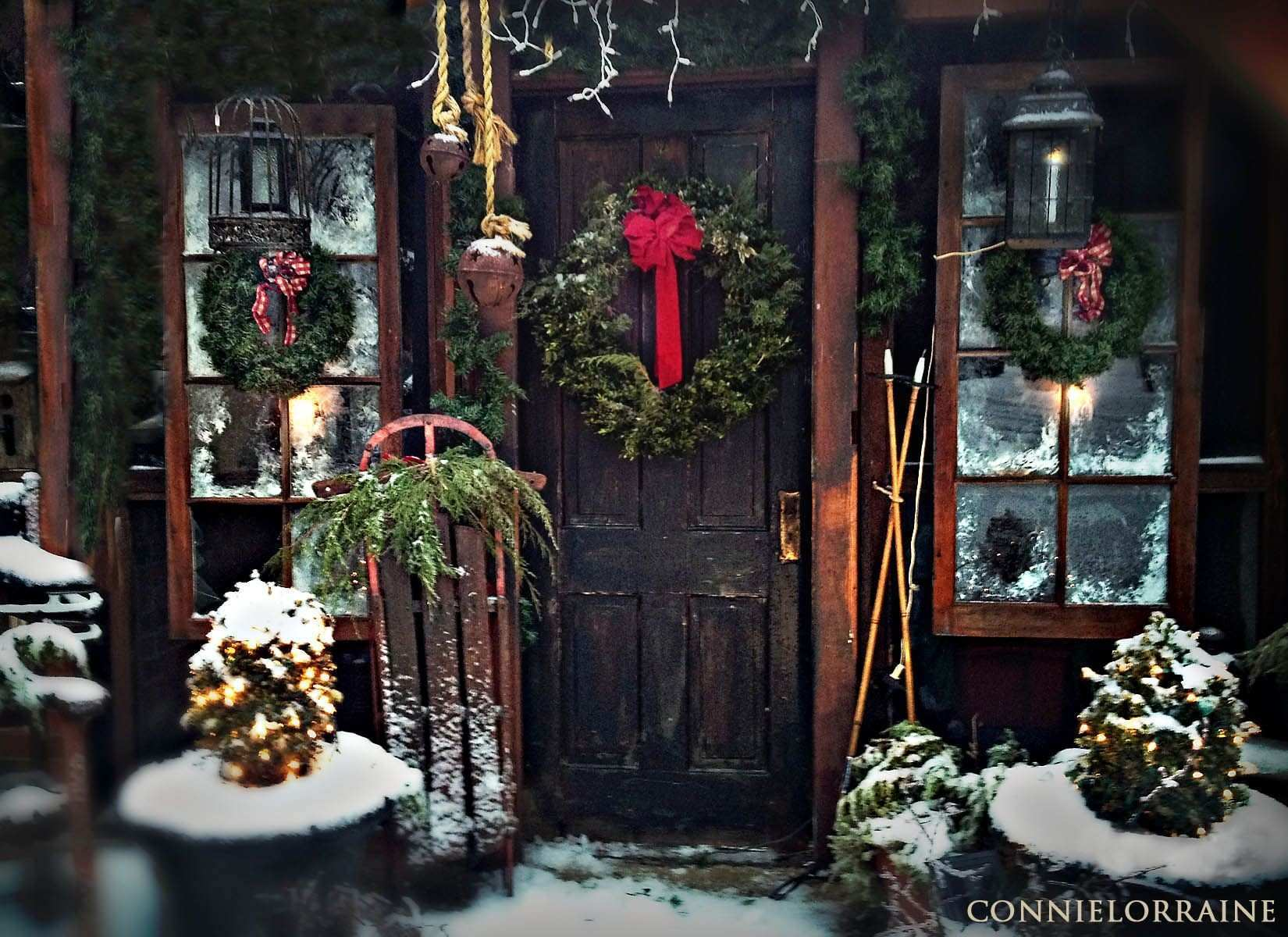 outdoor wall christmas decorations beautiful from screened porch to christmas country cabin i hung 2 old