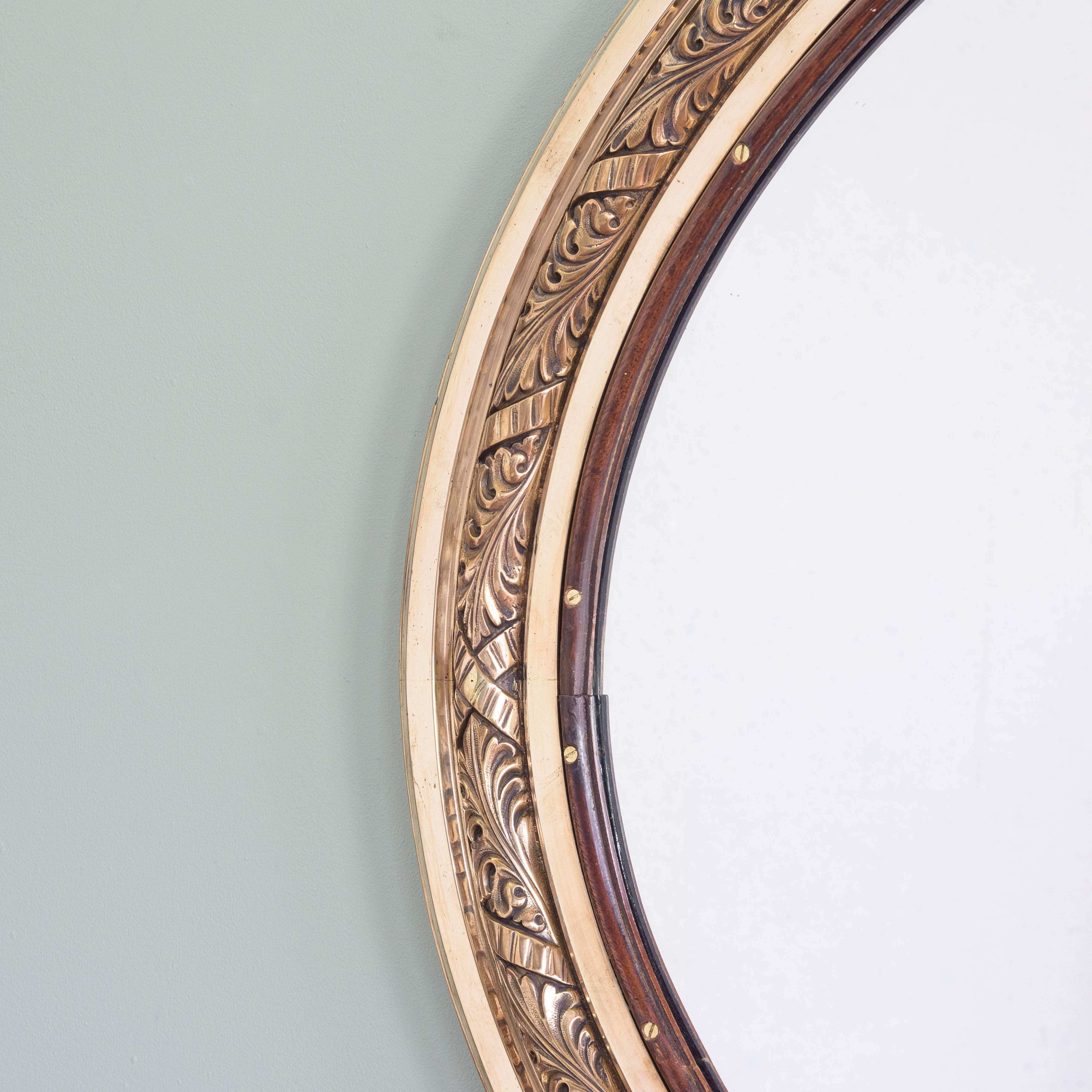 Pair of Bronze Oval Mirrors RMS Olympic For Sale at 1stdibs