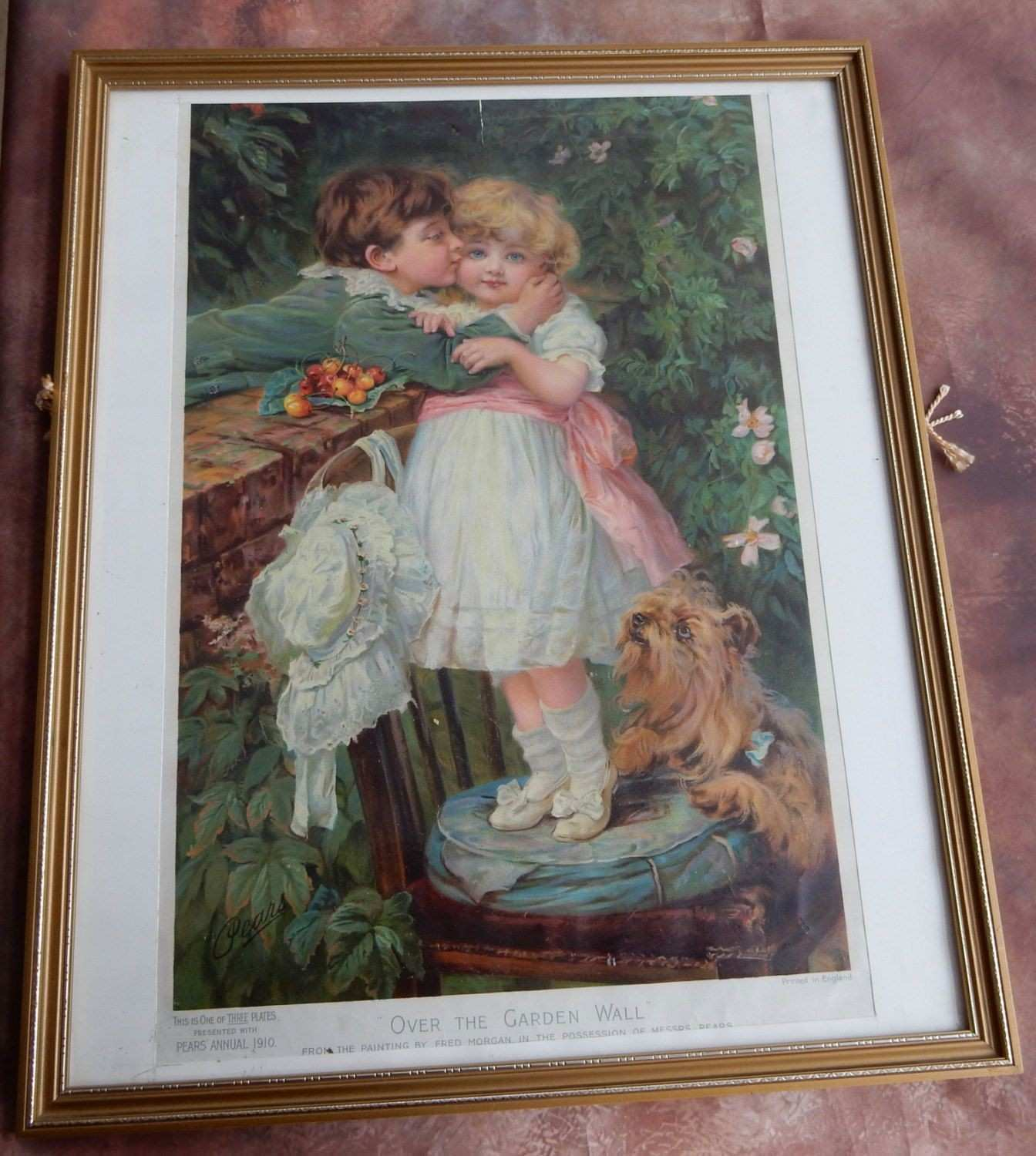 A lovely Vintage Pears Advertising Print in Frame Shabby chic