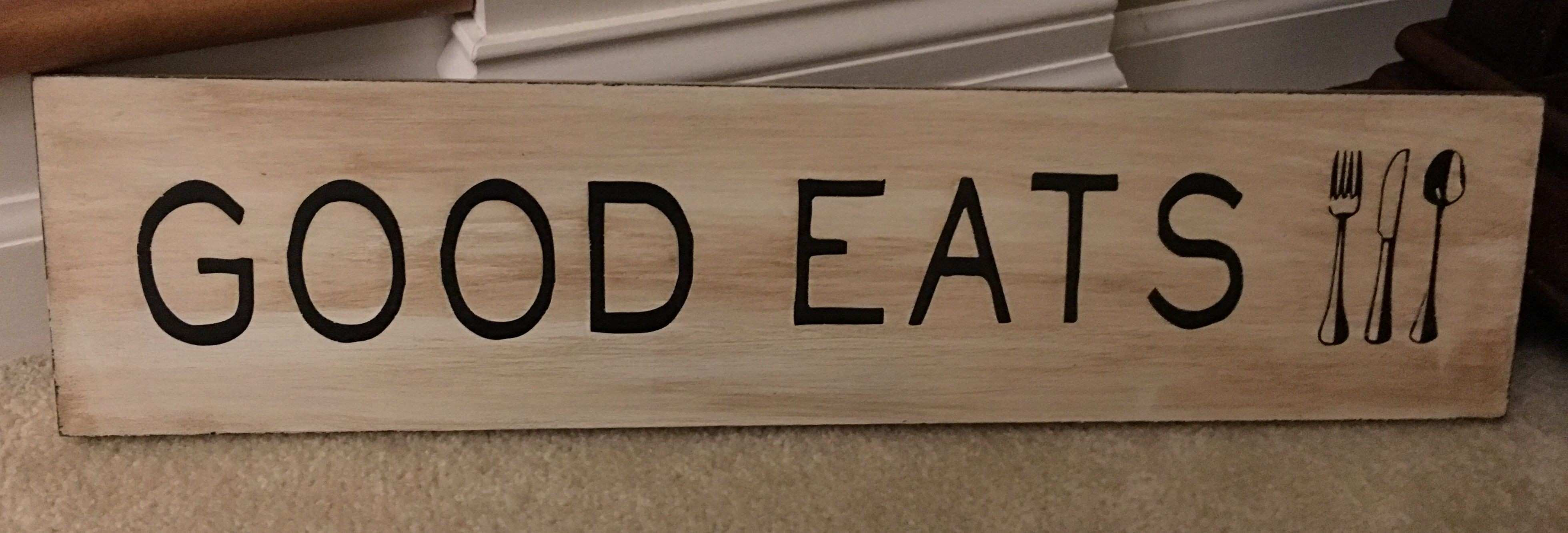 Good Eats painted wood sign fork knife spoon utensils wall