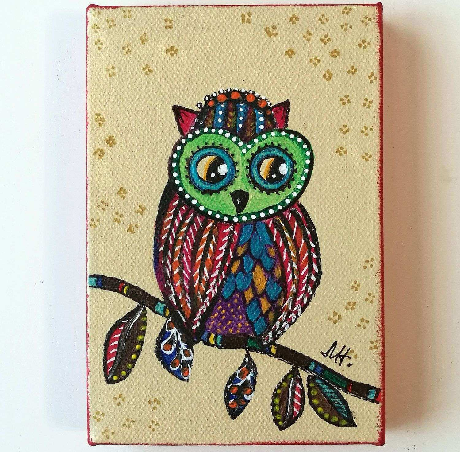 Owl Painting Acrylic original Canvas Colorful Kids Room Rainbow