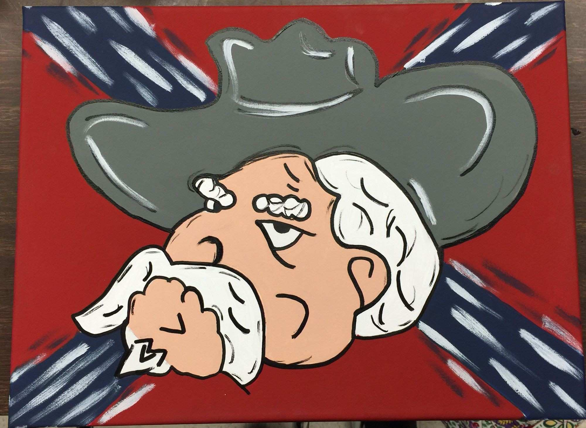 Colonel Reb hand painted canvas Hotty toddy ole miss