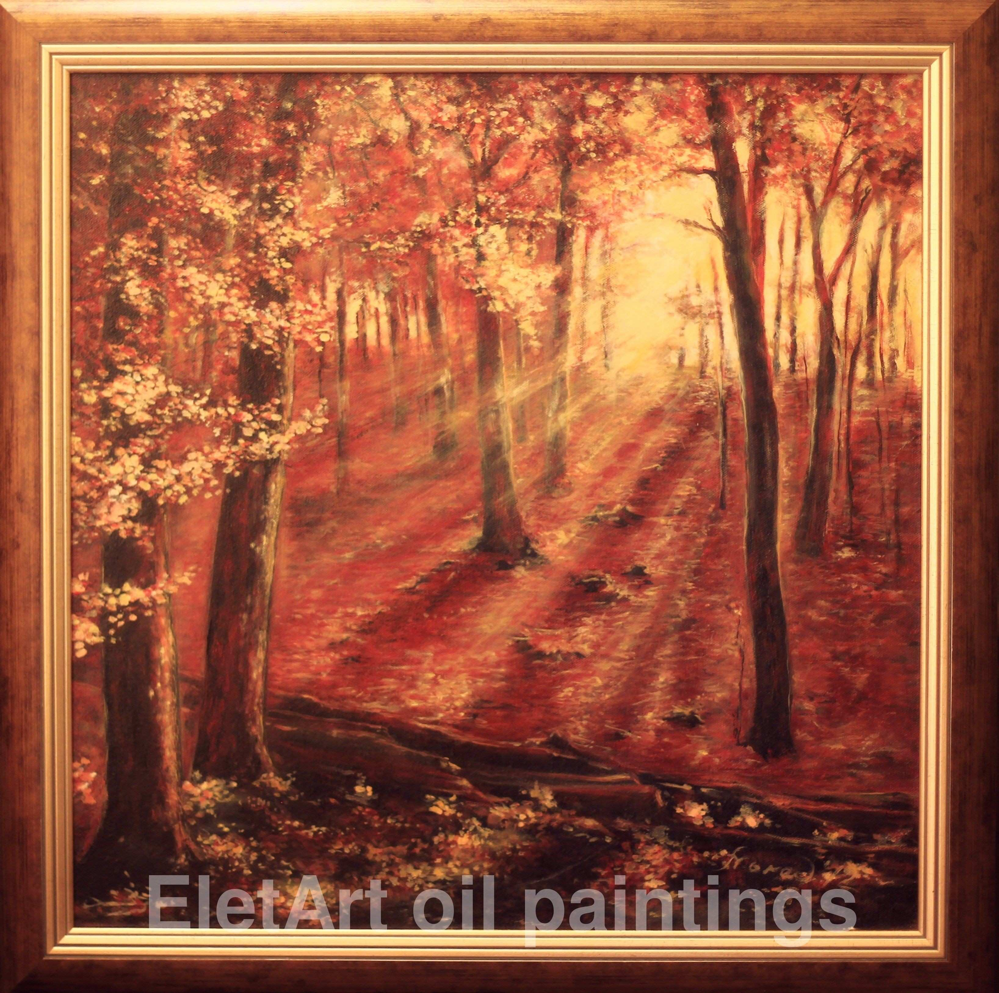 """Bright colored landscape painting on canvas """"The Autumn Sunset"""" by"""