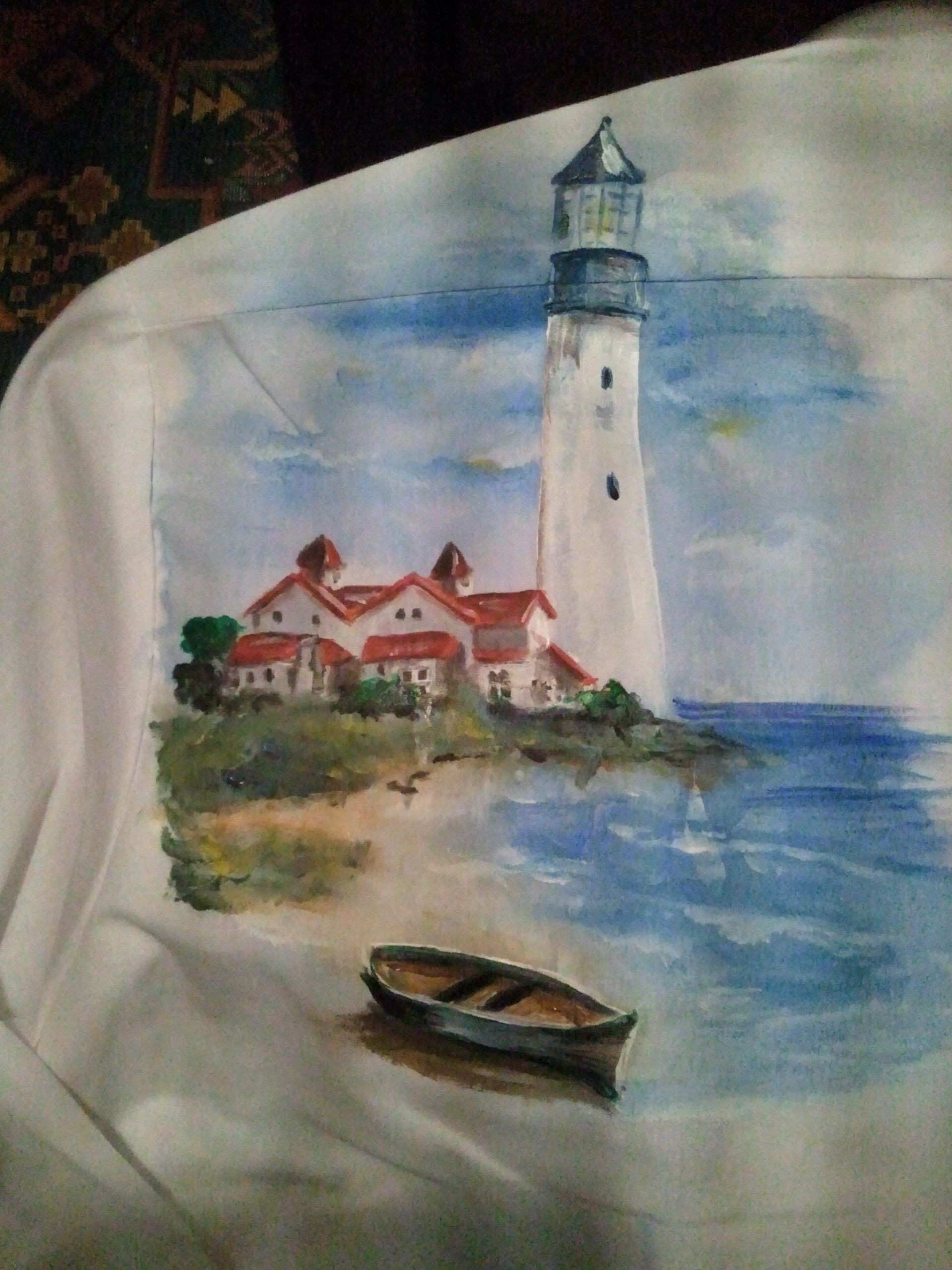 Back of one of my recent Hand Painted Tuxedo Shirt done in acrylics